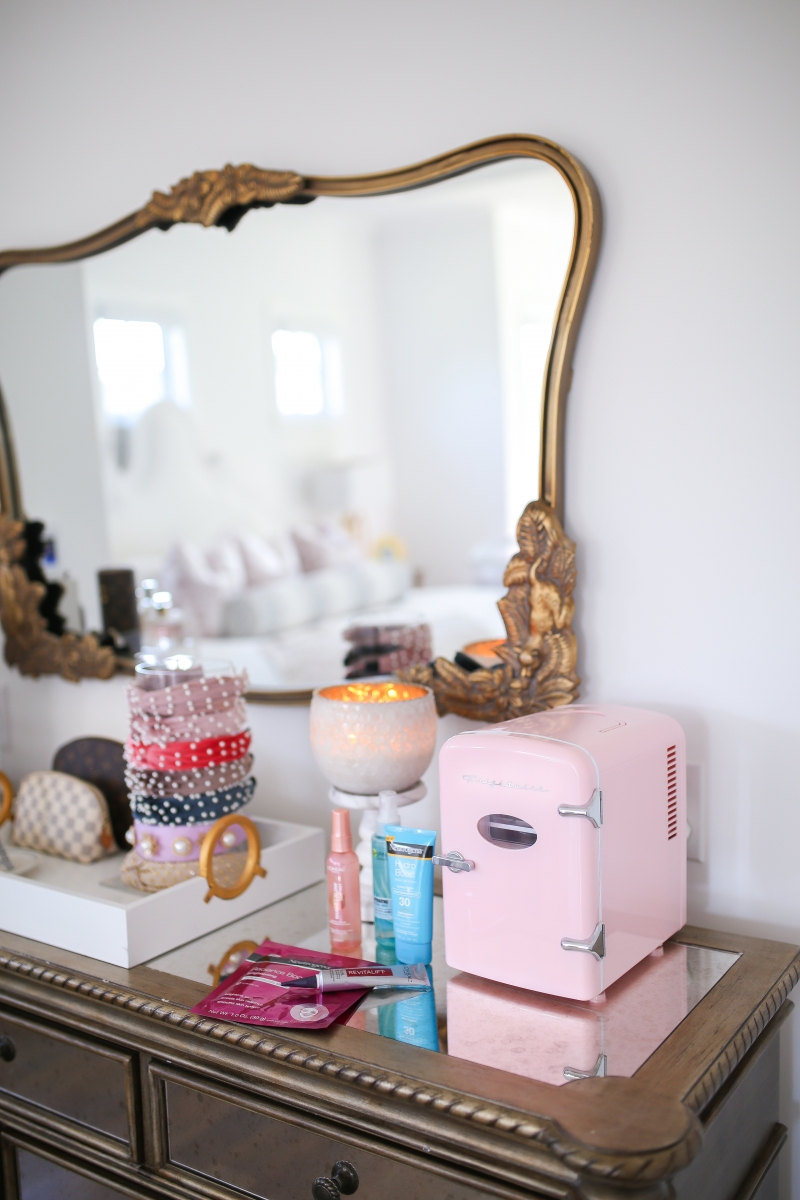 skincare fridge, mini fridge skincare, frigidaire pink mini fridge, emily ann gemma, walmart beauty, beauty blogger-5