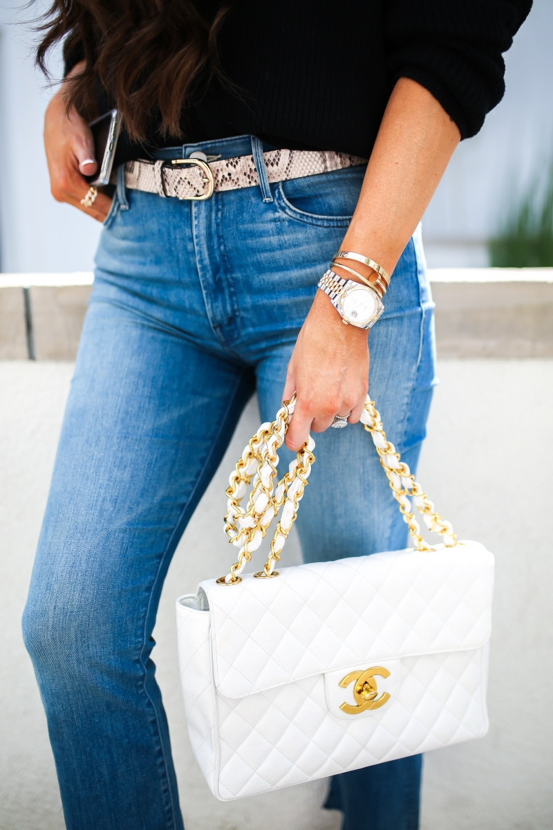 Mother high waisted cropped denim, Vintage chanel classic white jumbo gold hardware, snakeprint belt, Fall trends 2019 Snakeprint, emily gemma-2