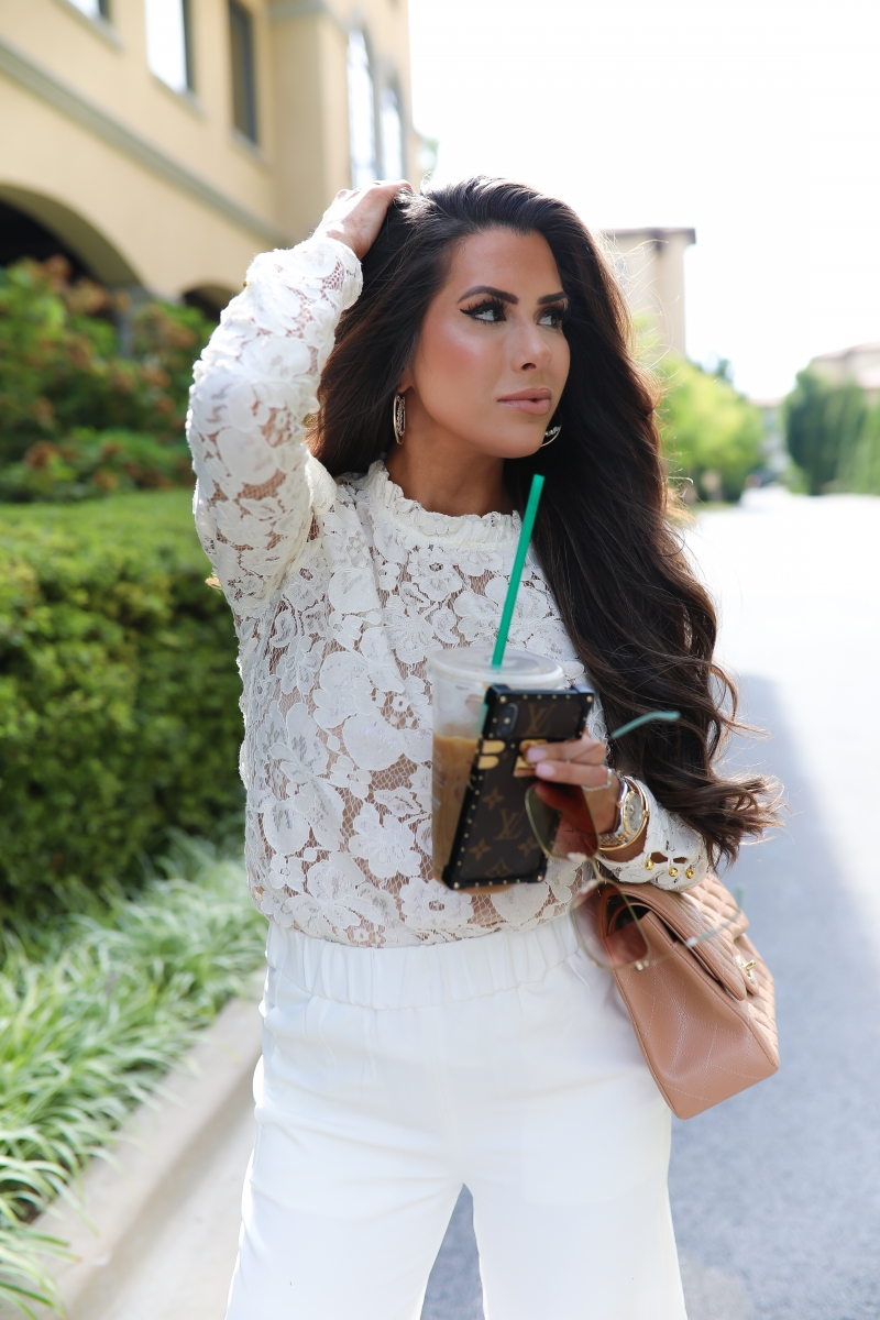 White Lace WAYF Blouse, Chanel classic jumbo beige, gucci 60mm square sunglasses, chanel earrings, emily ann gemma, Fall White Culottes outfit, fall fashion pinterest 2019-2