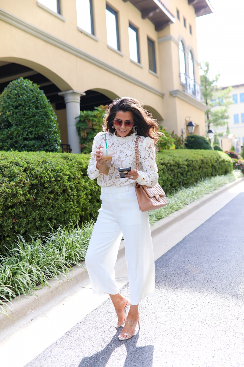 White Lace WAYF Blouse, Chanel classic jumbo beige, gucci 60mm square sunglasses, chanel earrings, emily ann gemma, Fall White Culottes outfit, fall fashion pinterest 2019-2White Lace WAYF Blouse, Chanel classic jumbo beige, gucci 60mm square sunglasses, chanel earrings, emily ann gemma, Fall White Culottes outfit, fall fashion pinterest 2019-2