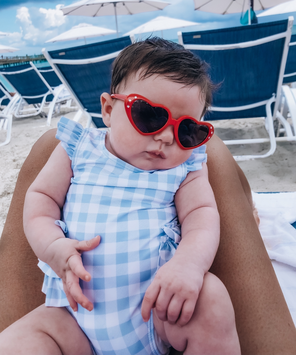 baby heart sunglasses, bahamar, baby girl gingham swimsuit, emily ann gemma
