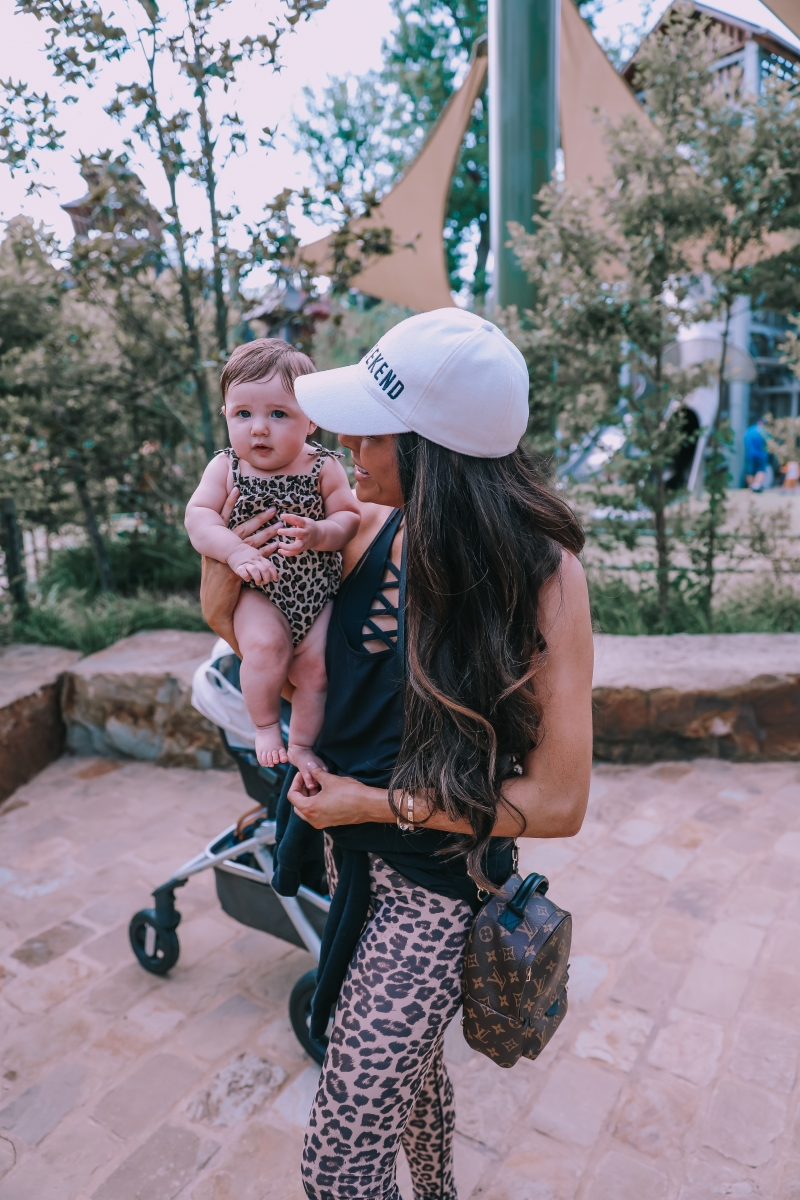 the gathering place tulsa, emily gemma blog, the sweetest thing blog, Nuna baby stroller, Leopard leggings, good american leopard leggings, APL shoe review-2
