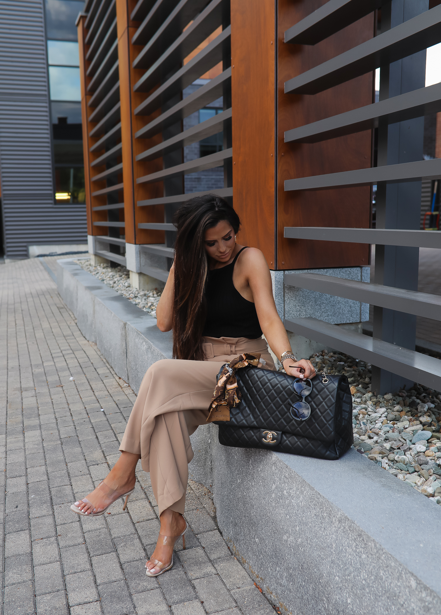 fall fashion outfits pinterest 2019, chanel XXL flap airport bag black, High waisted paper bag pants, emily ann gemma, express fall outfits 2019-2