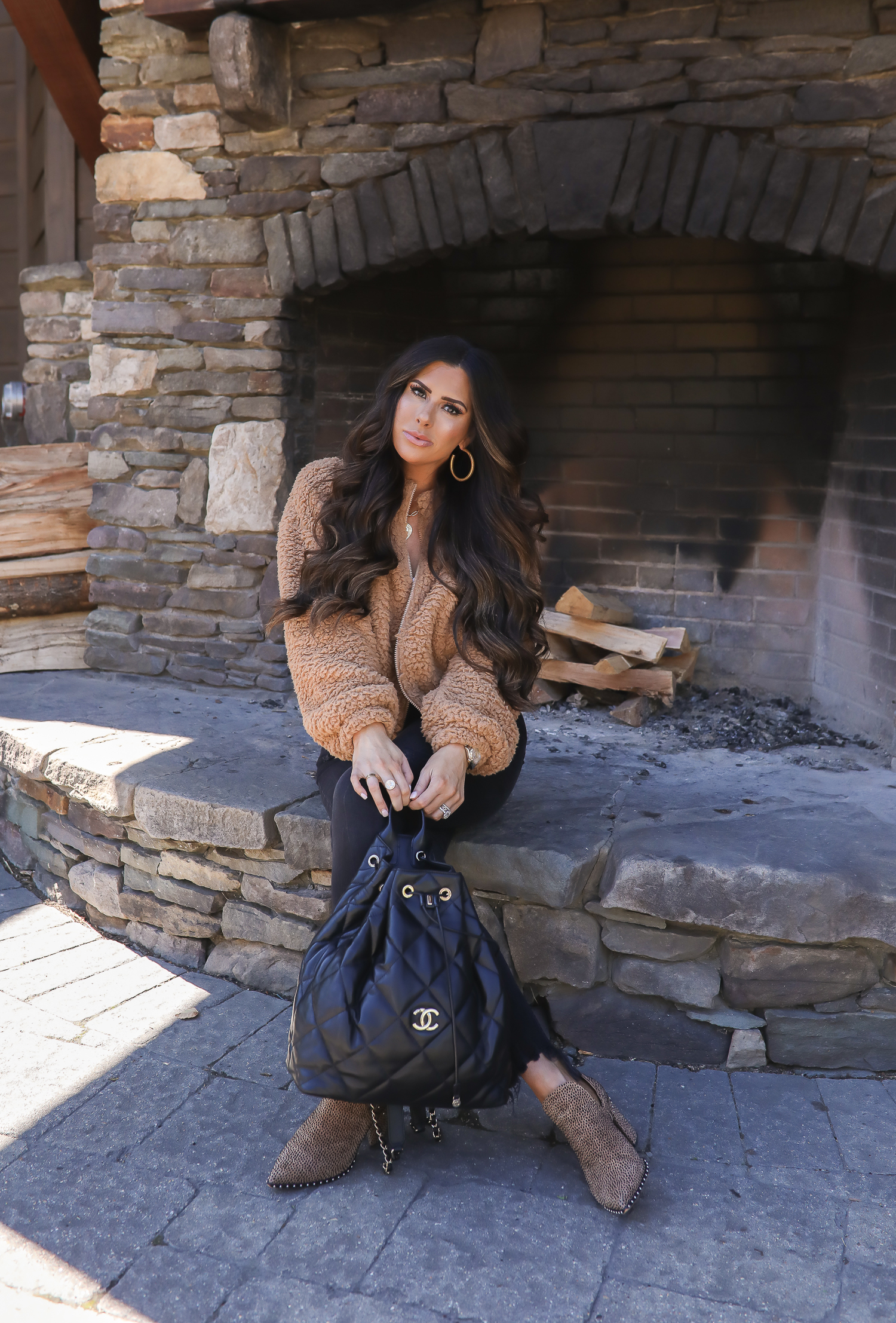 fall fashion outfits pinterest 2019, leopard booties, chanel black backpack fall 2019, stowe vermont fashion blogger, emily gemma, express sherpa jacket camel-2
