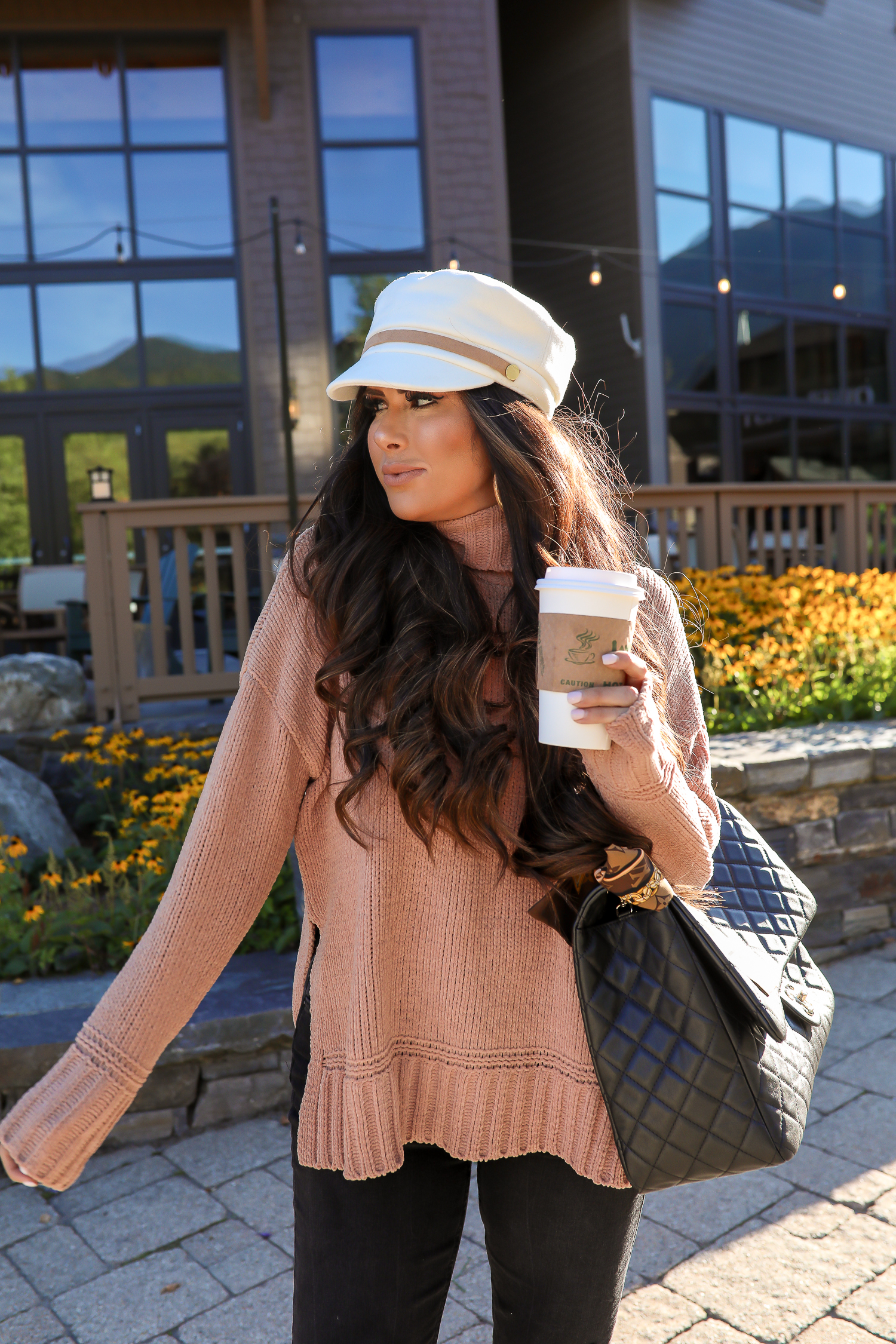 anthropologie white tan baker boy cap, aerie chenille turtleneck sweater, stowe vermont review, emily gemma