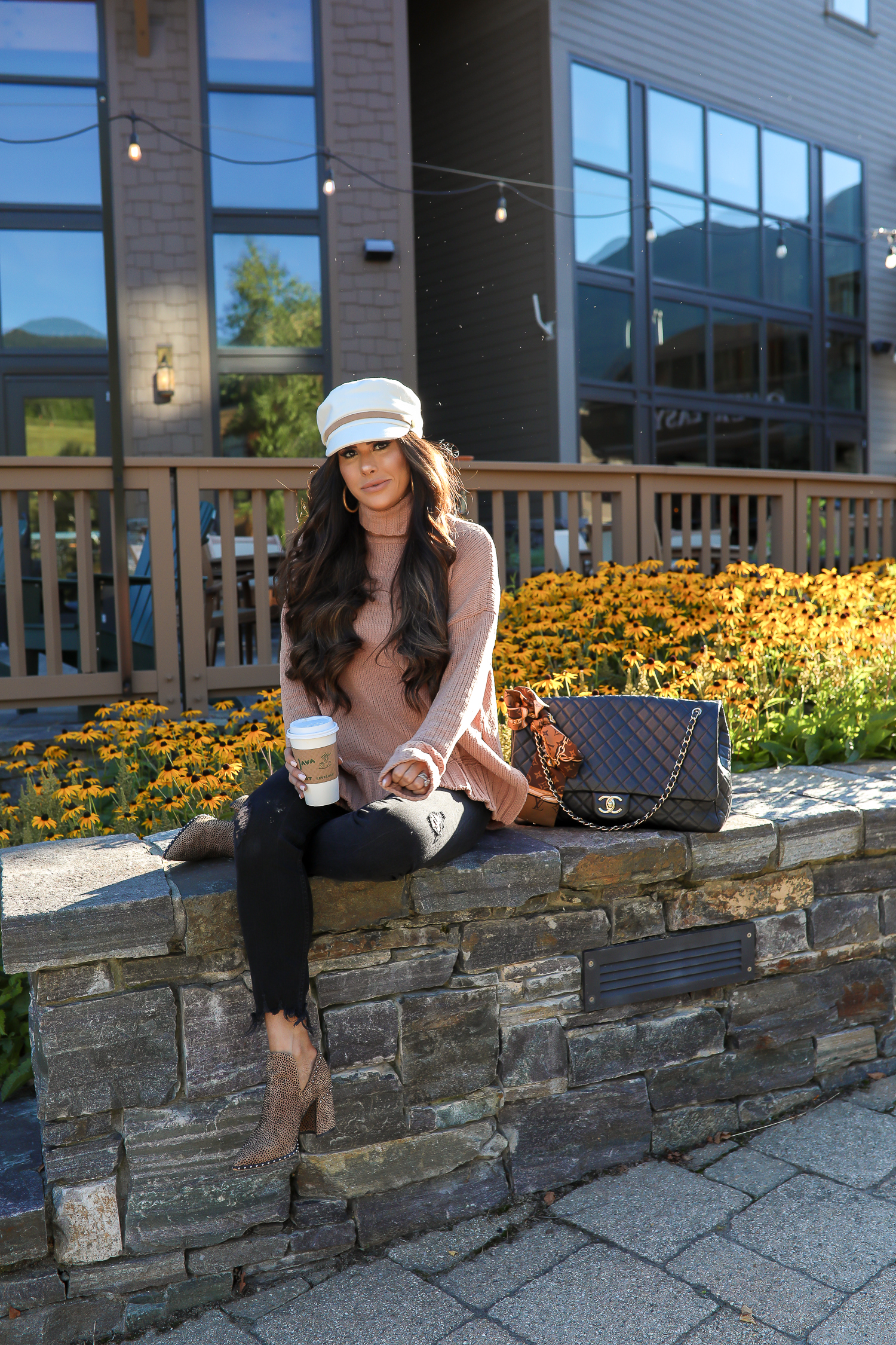 fall fashion outfits pinterest 2019, chanel airlines tote XXL bag black, anthropologie white tan baker boy cap, aerie chenille turtleneck sweater, stowe vermont review