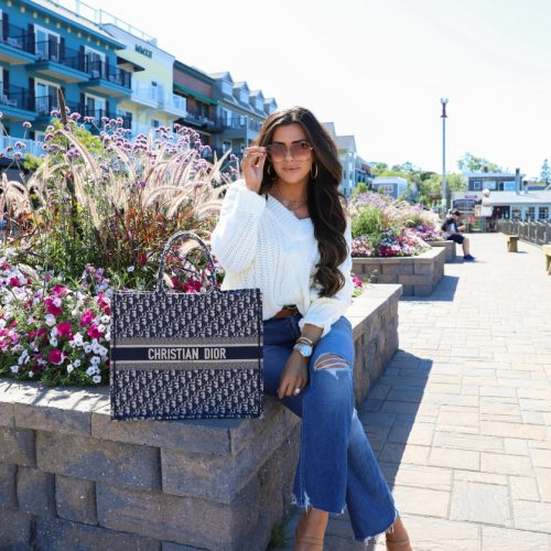 fall fashion pinterest 2019, Dior Book Tote Bag oblique navy, Bar Harbor Maine, emily gemma, Fall Fashion trends 2019, gucci 60mm sunglasses, Mother Tripper denim, Red dress boutique-2