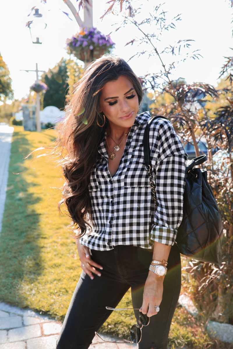 fall fashion pinterest 2019, buffalo plaid BP nordstrom top, Celine round sunglasses, emily gemma, Chanel black quilted blackpack 2019-2