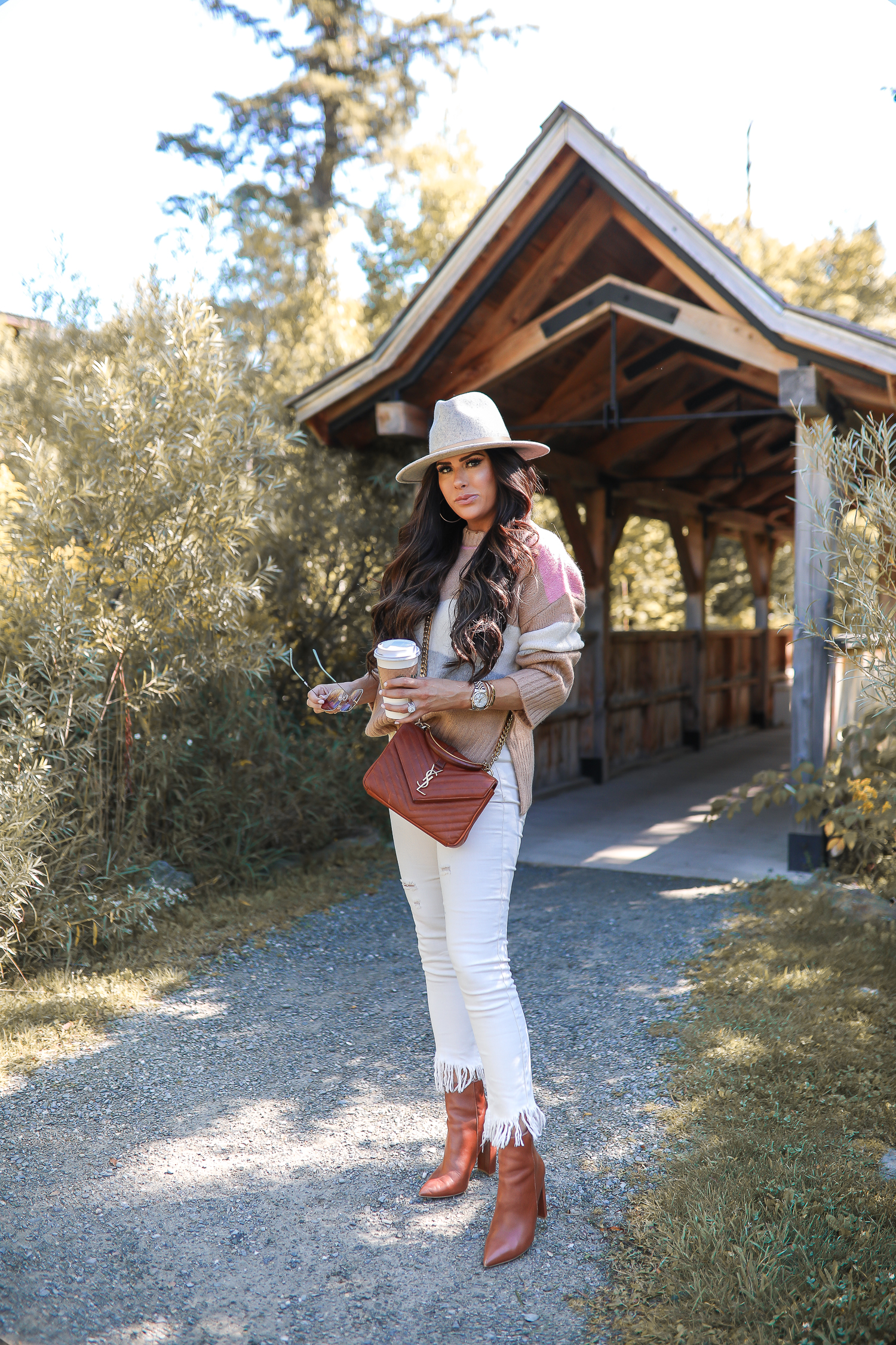 fall fashion pinterest 2019, stowe vermont, YSL collage tan bag, Lack of color mack hat, Topshop colorblock sweater tan and pink, Emily Gemma-13