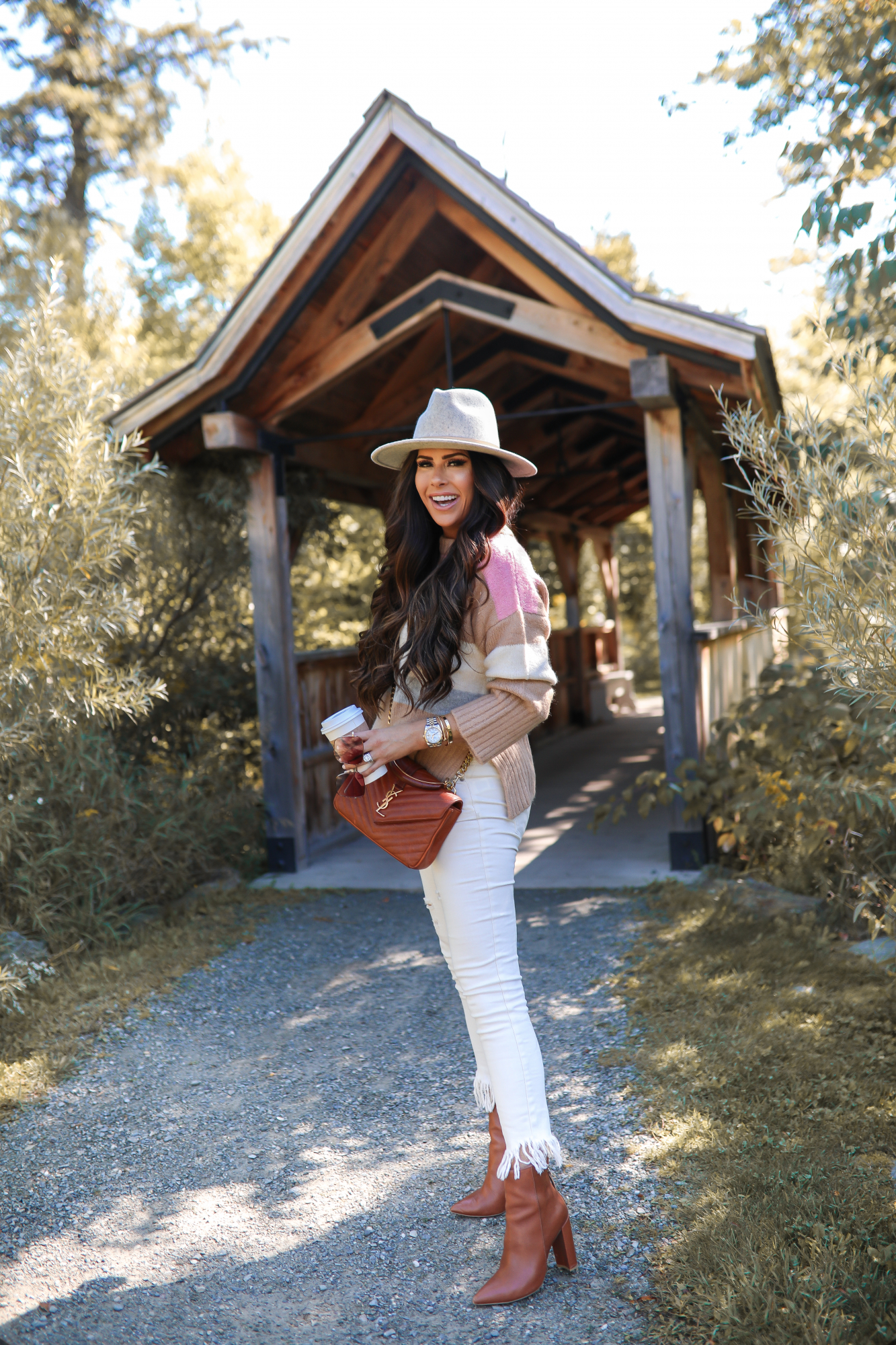 fall fashion pinterest 2019, stowe vermont, YSL collage tan bag, Lack of color mack hat, Topshop colorblock sweater tan and pink, Emily Gemma-2