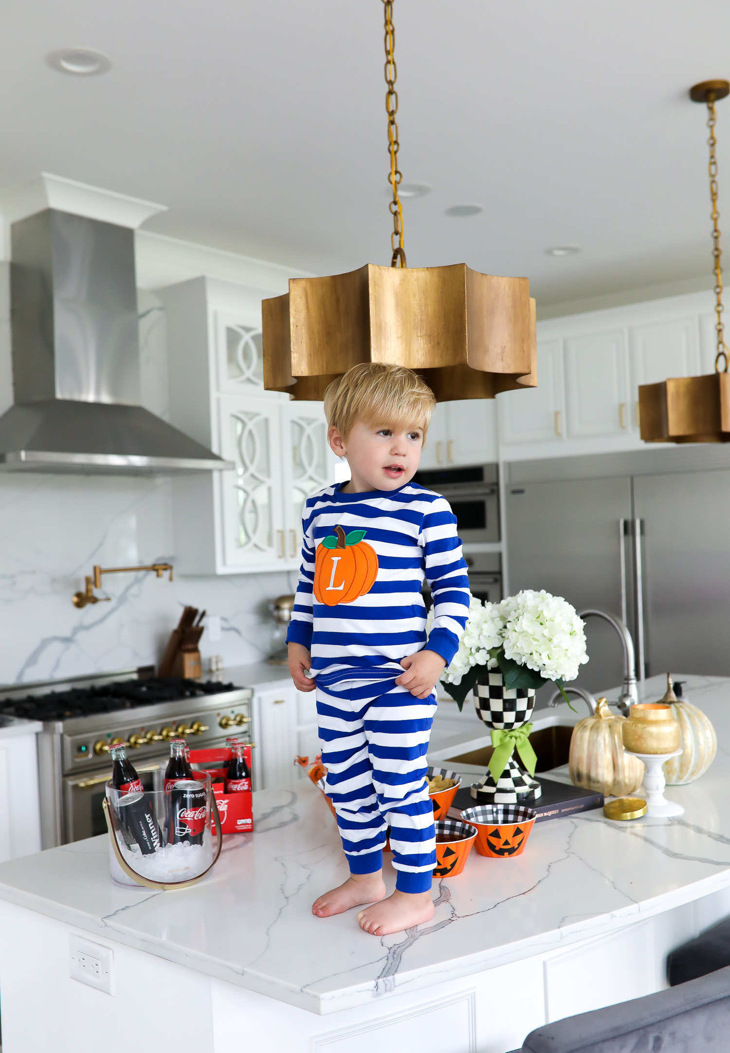 pinterest white gold kitchen, smocked auction pumpkin fall Pajamas, emily ann gemma home, pinterest white ktichen inspiration, fall decor 2019 kitchen-2