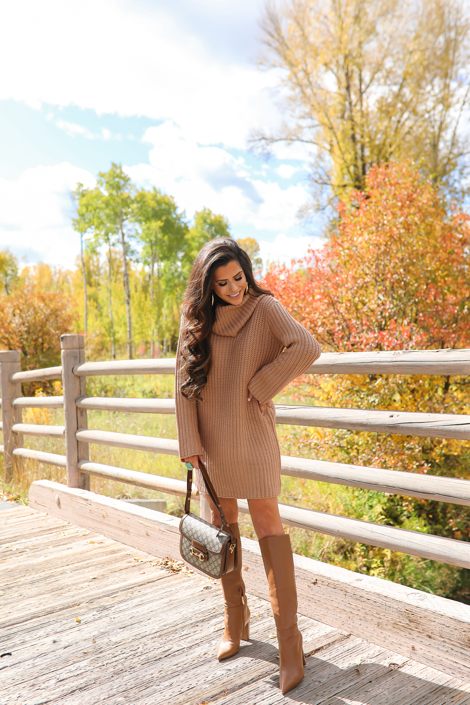 Camel Sweater Dress styled for Fall by top US fashion blog, The Sweetest Thing: image of a woman wearing a BB Dakota camel sweater dress, Sam Edelman boots, Gucci 1955 shoulder bag, Gucci sunglasses, Free People rings, and Argento Vivo earrings | fall fashion outfits pinterest 2019, gucci 1955 horsebit bag, sam edelman raakal boots, cute dresses leather boots pinterest fall fashion, emily ann gemma-2