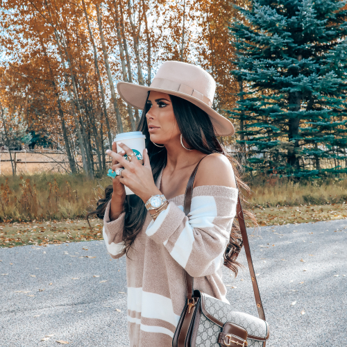 Rag and Bone White Jeans style for Fall by top US fashion blog, The Sweetest Thing: image of a woman wearing Rag and Bone white denim jeans, a Red Dress Boutique off the shoulder striped sweater, Gianni Bini boots, Gucci 1955 shoulder bag, Brixton Panama hat, Rolex watch, Cartier bracelets, Argento Vivo earrings, and a Free People ring | fall fashion outfits pinterest 2019, gucci vintage 1955 bag, fall outfits white denim, red dress boutique sweater, brixton hats-10