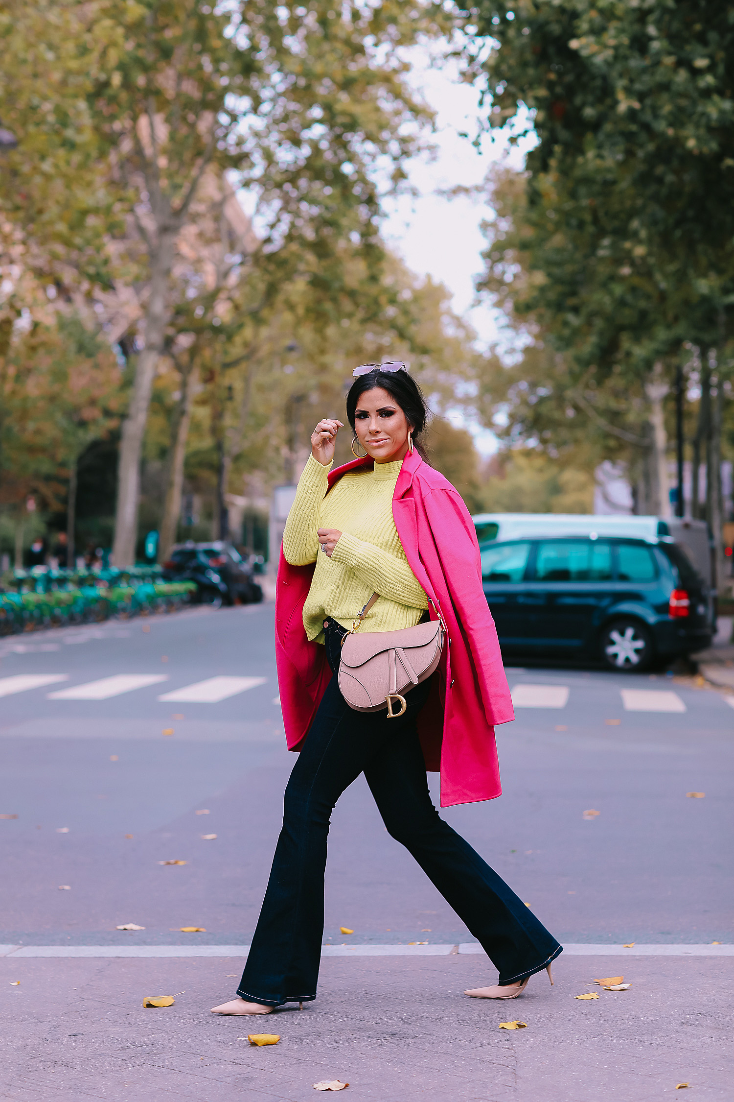 paris fall fashion 2019, fall fashion 2019, banana republic fall outfits 2019, paris outfit ideas fall and winter, what to wear in paris in october november, emily ann gemma-2 | paris fall fashion 2019, fall fashion 2019, banana republic fall outfits 2019, paris outfit ideas fall and winter, what to wear in paris in october november, emily ann gemma-2 | Do You Like Neon Or Neutrals?! Two Everyday Fall Outfits by popular Oklahoma fashion blog, The Sweetest Thing: image of a woman outside in Paris and wearing a Banana Republic High-Rise Flare Jean, Banana Republic Double-Faced Topcoat, and Banana Republic Chunky High Crew-Neck Sweater.
