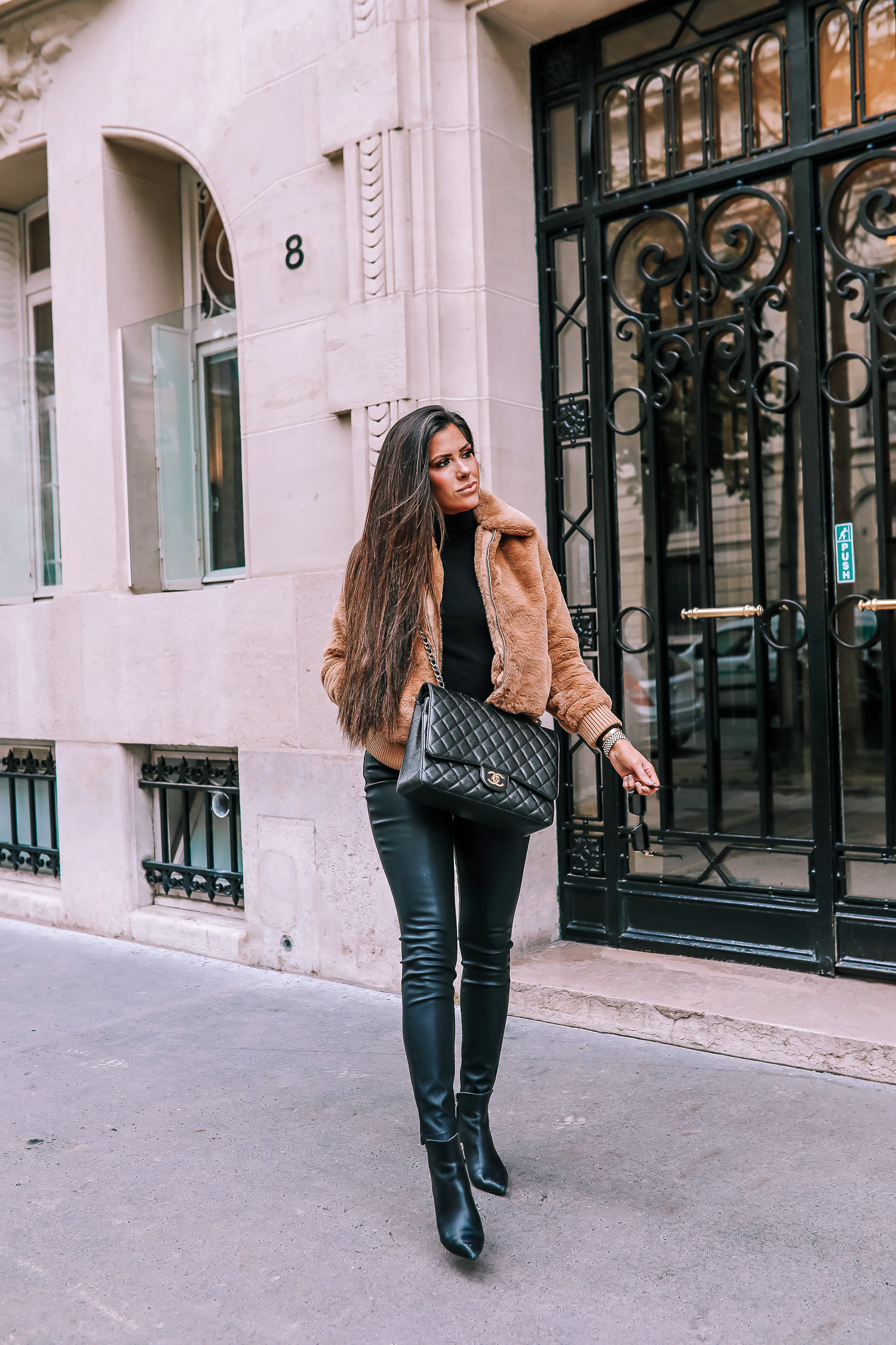 paris fall fashion 2019, fall fashion 2019, banana republic fall outfits 2019, paris outfit ideas fall and winter, what to wear in paris in october november, emily ann gemma-2 | paris fall fashion 2019, fall fashion 2019, banana republic fall outfits 2019, paris outfit ideas fall and winter, what to wear in paris in october november, emily ann gemma-2 | Do You Like Neon Or Neutrals?! Two Everyday Fall Outfits by popular Oklahoma fashion blog, The Sweetest Thing: image of a woman outside in Paris and wearing a Banana Republic Faux Fur Bomber, Banana Republic Merino-Blend Funnel-Neck Sweater, and Banana Republic High-Rise Skinny Coated Jean.
