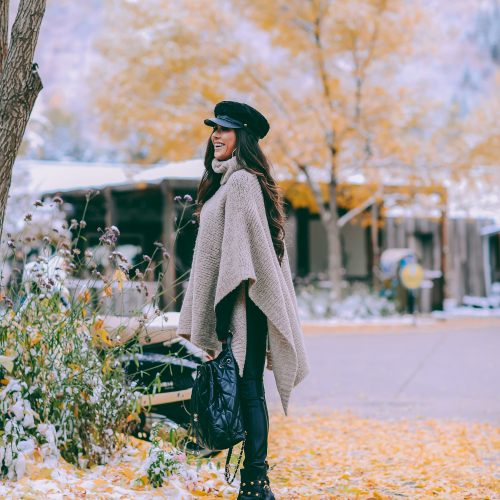 winter 2019 fashion outfits pinterest, mango cape poncho, chanel black quilted backpack, aspen fashion blogger, emily gemma, cute outfits for aspen-2