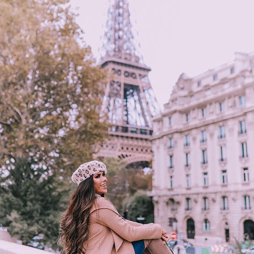 Fall outfit idea paris pinterest 2019, Gucci Horsebit 1955 Gucci Bag, leopard beret, taupe over the knee boots steve madden, emily gemma, Fall Fashion outfit ideas tan coat over the knee boots-2