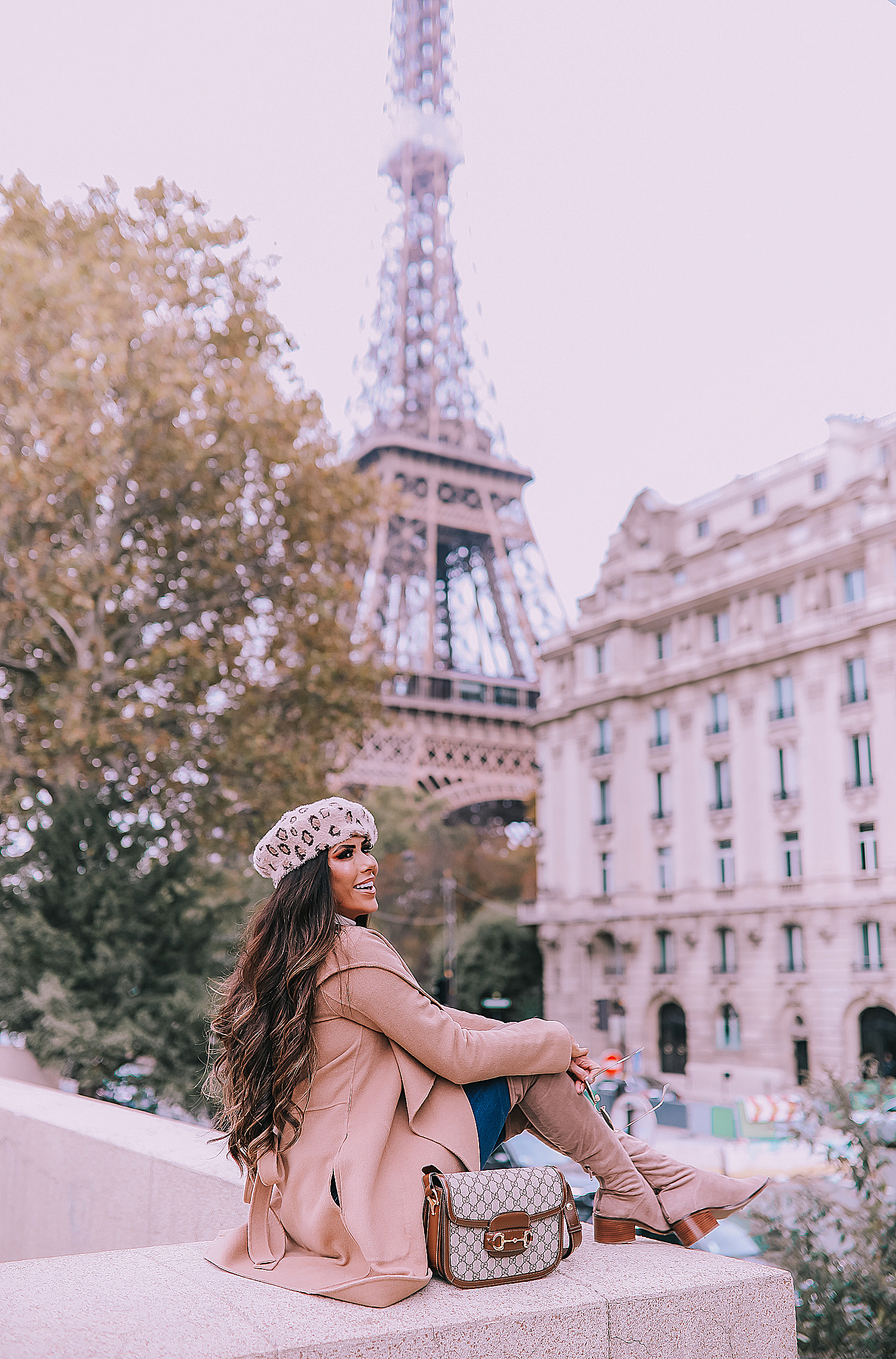 Fall outfit idea paris pinterest 2019| Over the knee boot outfit featured by top US fashion blog, The Sweetest Thing: image of a woman wearing  Gucci Horsebit 1955 Gucci Bag, leopard beret, taupe over the knee boots steve madden, emily gemma, Fall Fashion outfit ideas tan coat over the knee boots-2