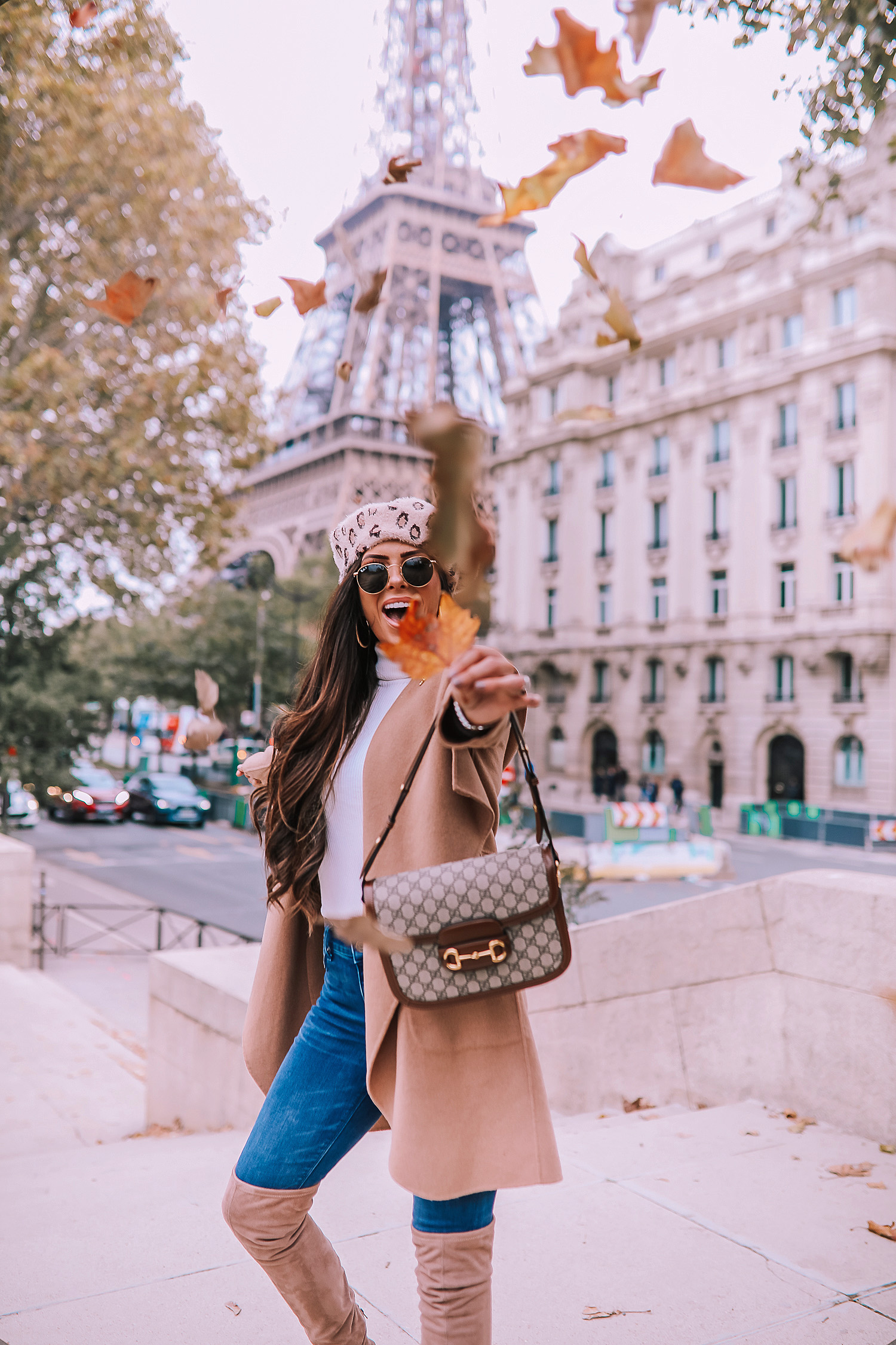 Fall outfit idea paris pinterest 2019| Over the knee boot outfit featured by top US fashion blog, The Sweetest Thing: image of a woman wearing  Gucci Horsebit 1955 Gucci Bag, leopard beret, taupe over the knee boots steve madden, emily gemma, Fall Fashion outfit ideas tan coat over the knee boots