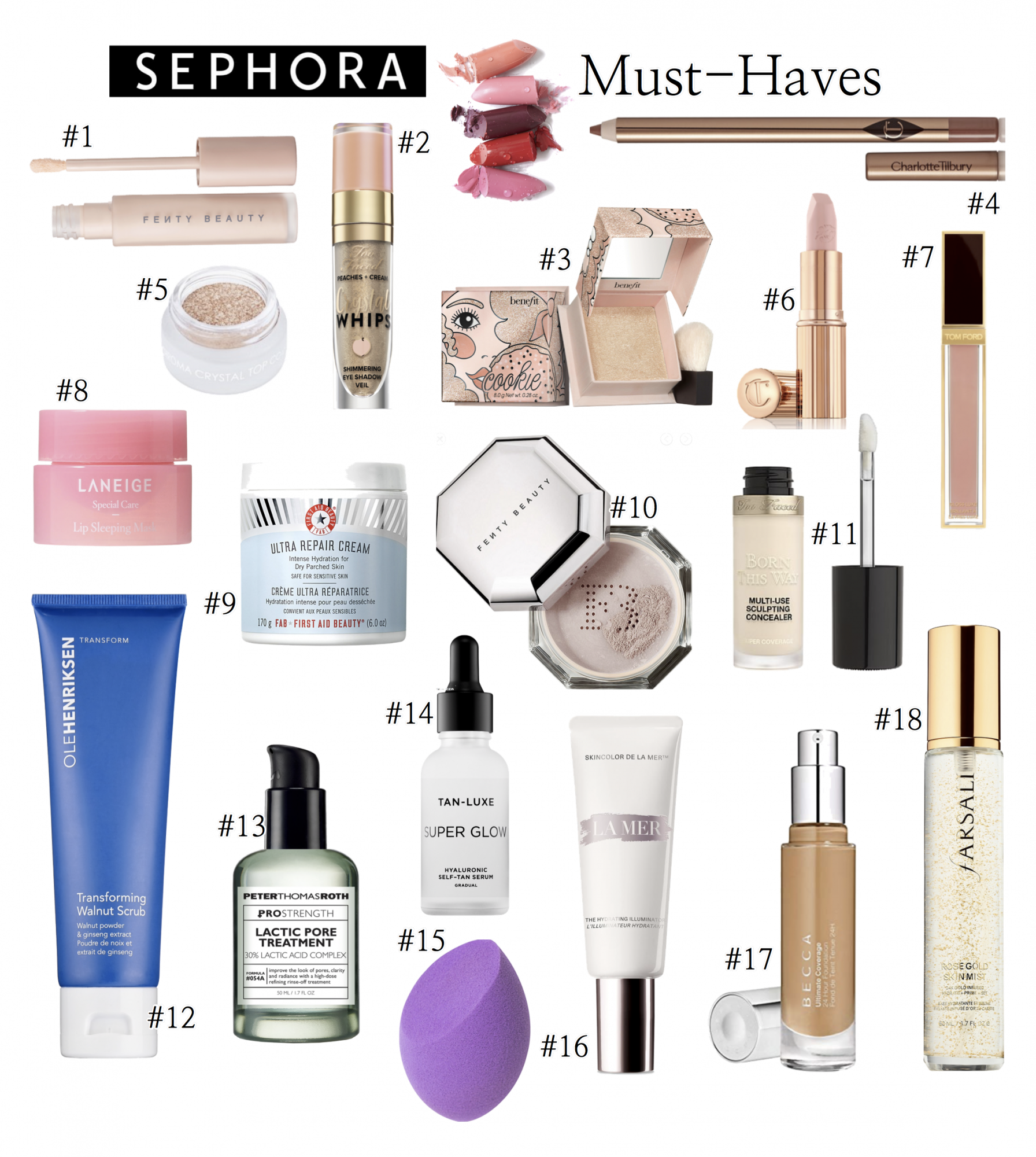 Sephora VIB Event Must-Haves + What I Purchased Already by popular Oklahoma beauty blog, The Sweetest Thing: collage image of various Sephora beauty products.
