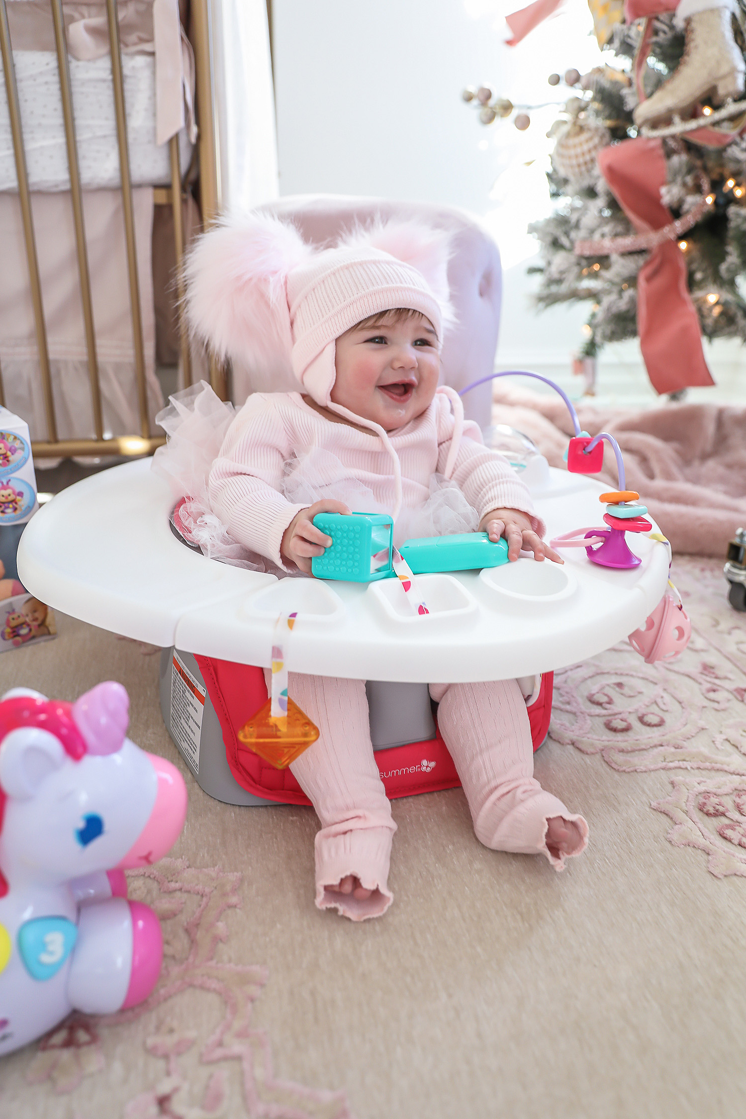 Affordable baby gifs featured by top US life and style blogger, Emily Gemma of The Sweetest Thing. baby girl gift guide 2019 christmas 6 month old, baby girl fashion blogger, baby girl fashionista