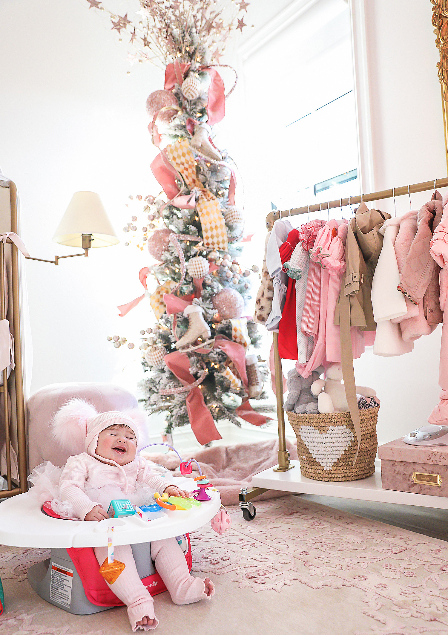 Affordable baby gifs featured by top US life and style blogger, Emily Gemma of The Sweetest Thing. baby girl nursery christmas time pinterest, christmas tree baby girl pink, emily gemma, tree, Christmas tree inspiration 2019, best baby gifts 6 month old christmas28