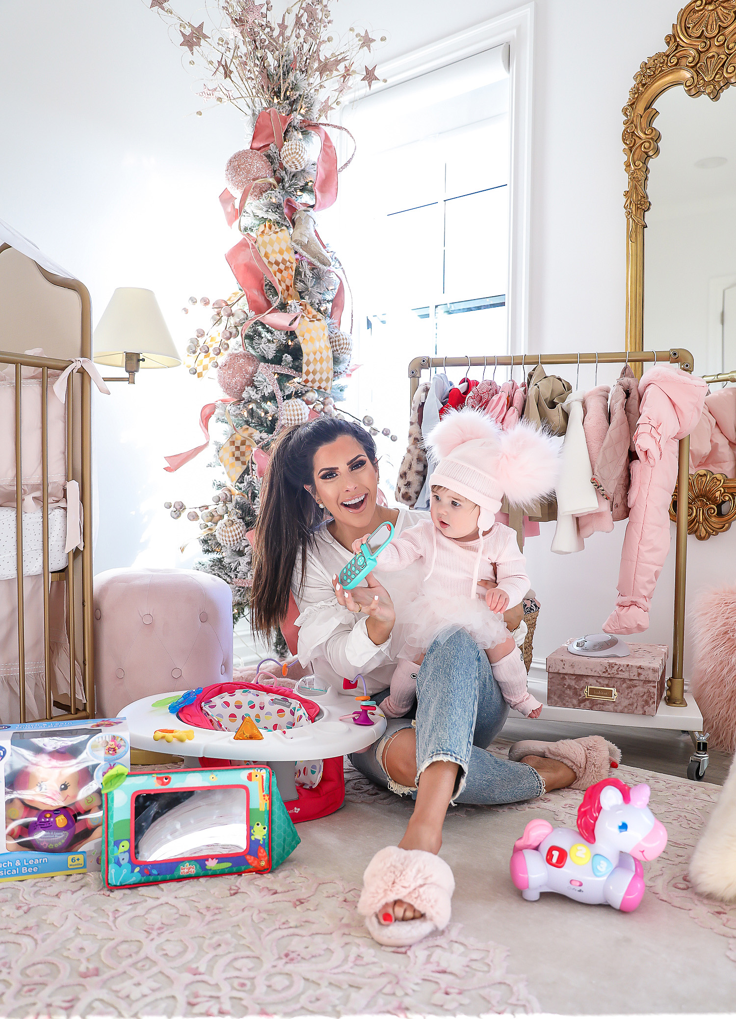Affordable baby gifs featured by top US life and style blogger, Emily Gemma of The Sweetest Thing. baby girl nursery christmas time pinterest, christmas tree baby girl pink, emily gemma, tree, Christmas tree inspiration 2019, best baby gifts 6 month old christmas33