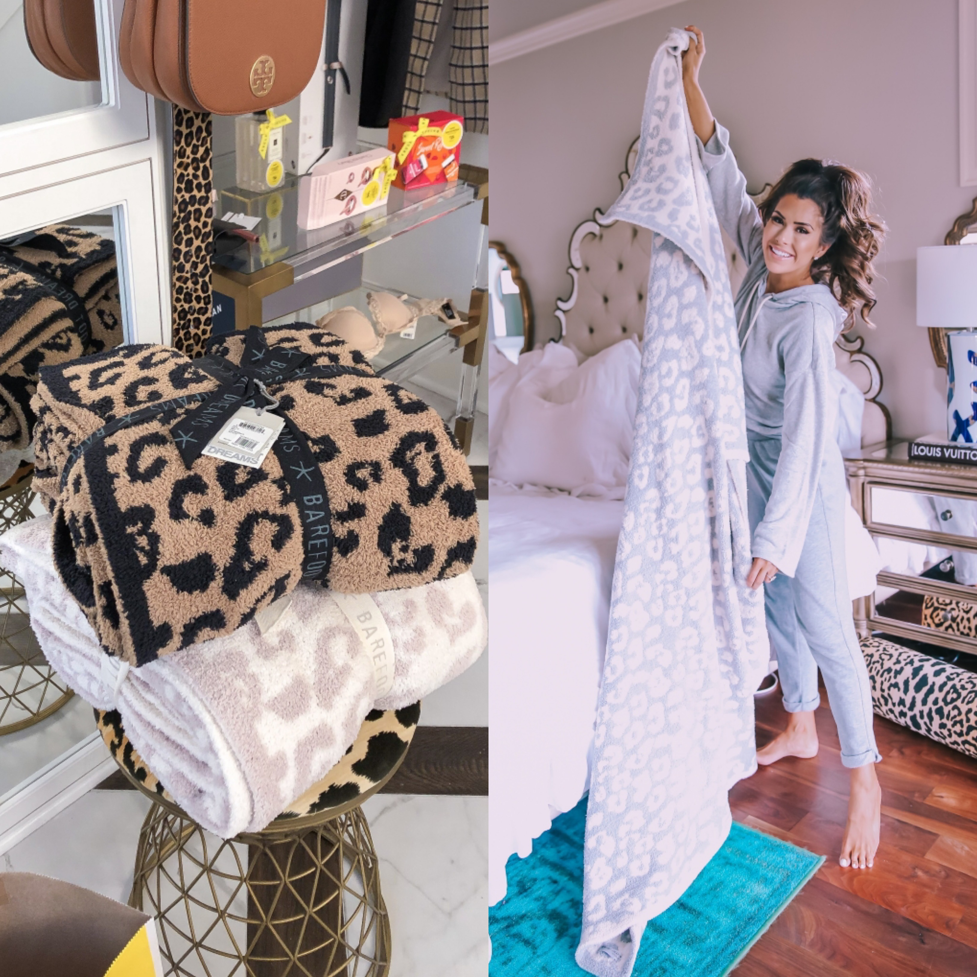 barefoot dreams blanket review on sale, black friday sales 2019, emily gemma | Mega Black Friday Sales and Deals Guide!! by popular Oklahoma life and style blog, The Sweetest Thing: collage image of Nordstrom leopard print blankets.