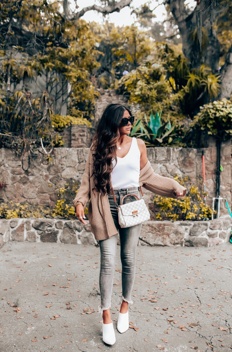 Most Popular Outfits On Sale That I've Worn - All 50% Off! by popular Oklahoma fashion blog, The Sweetest Thing: image of a woman wearing a white cami and high waisted grey denim.