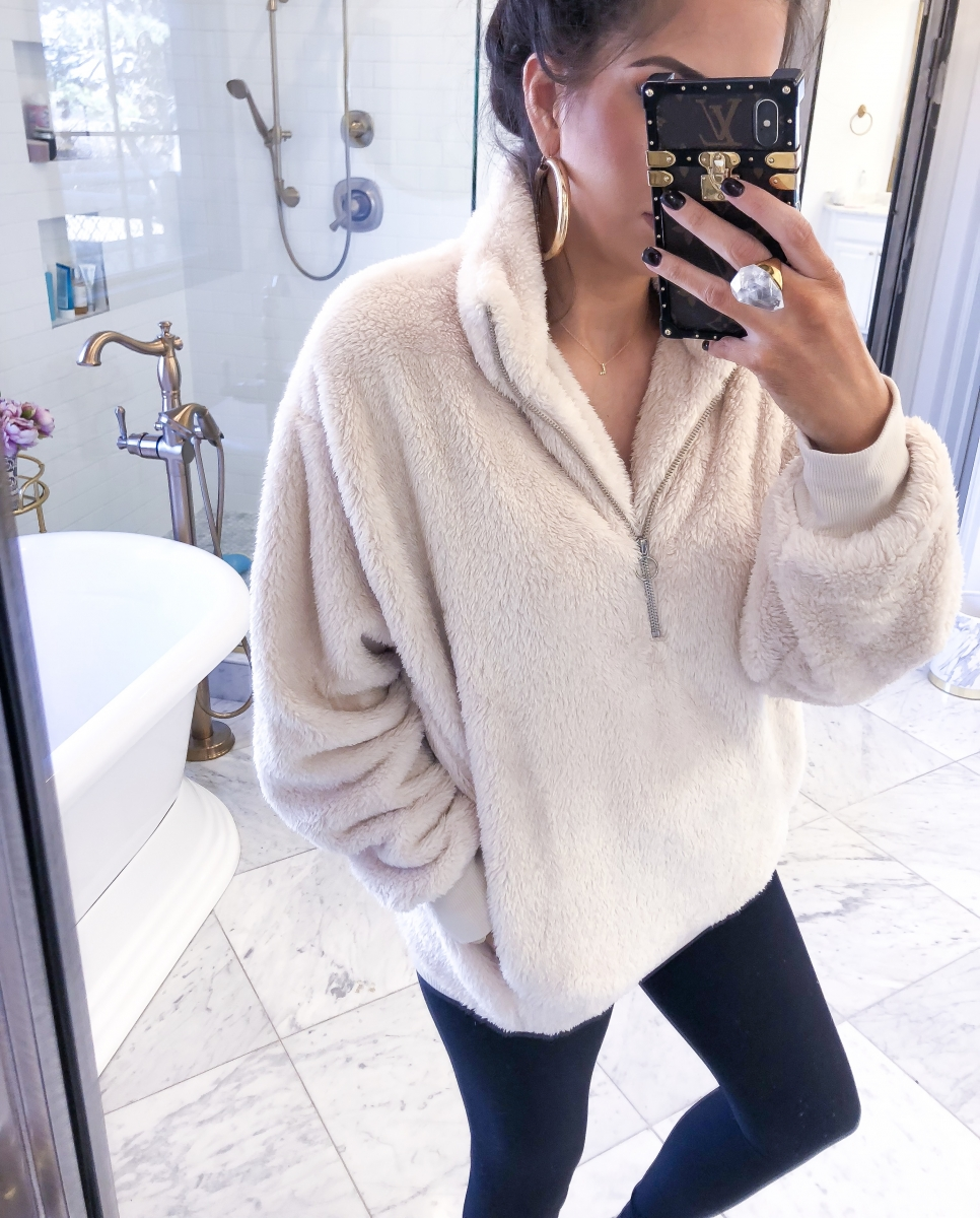 Most Popular Outfits On Sale That I've Worn - All 50% Off! by popular Oklahoma fashion blog, The Sweetest Thing: image of a woman wearing an Oversized Velour Quarter Zip.