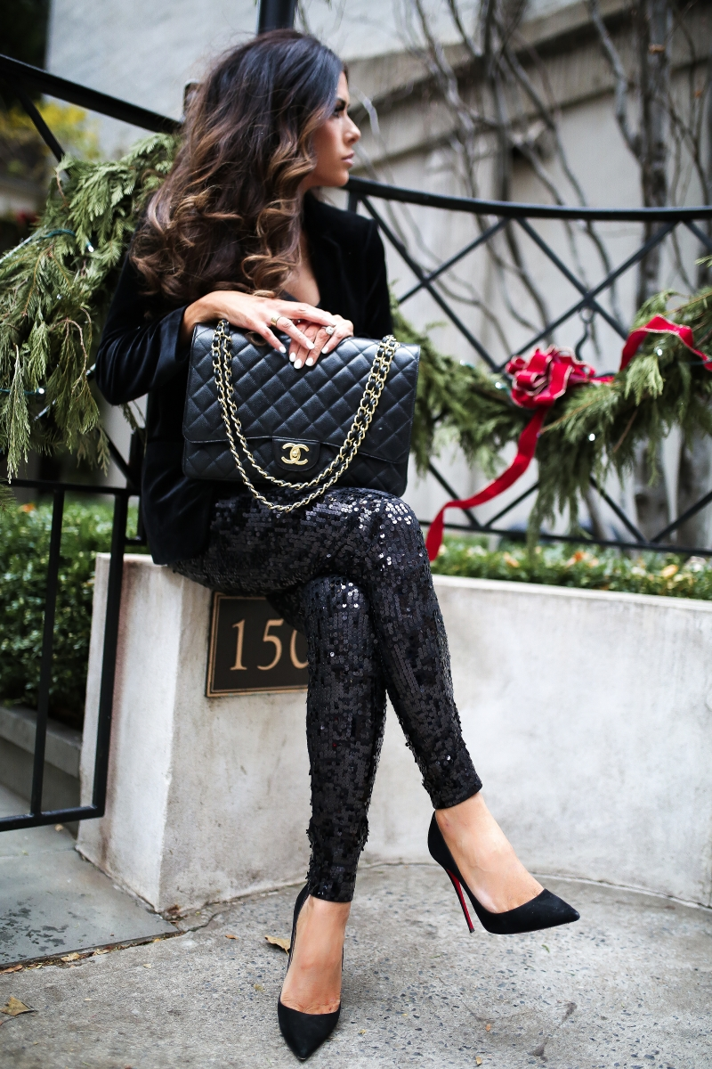 Most Popular Outfits On Sale That I've Worn - All 50% Off! by popular Oklahoma fashion blog, The Sweetest Thing: image of a woman wearing Express Shawl Collar Velvet Boyfriend Blazer, Express High Waisted Sequin Leggings, and Express Downtown Cami.