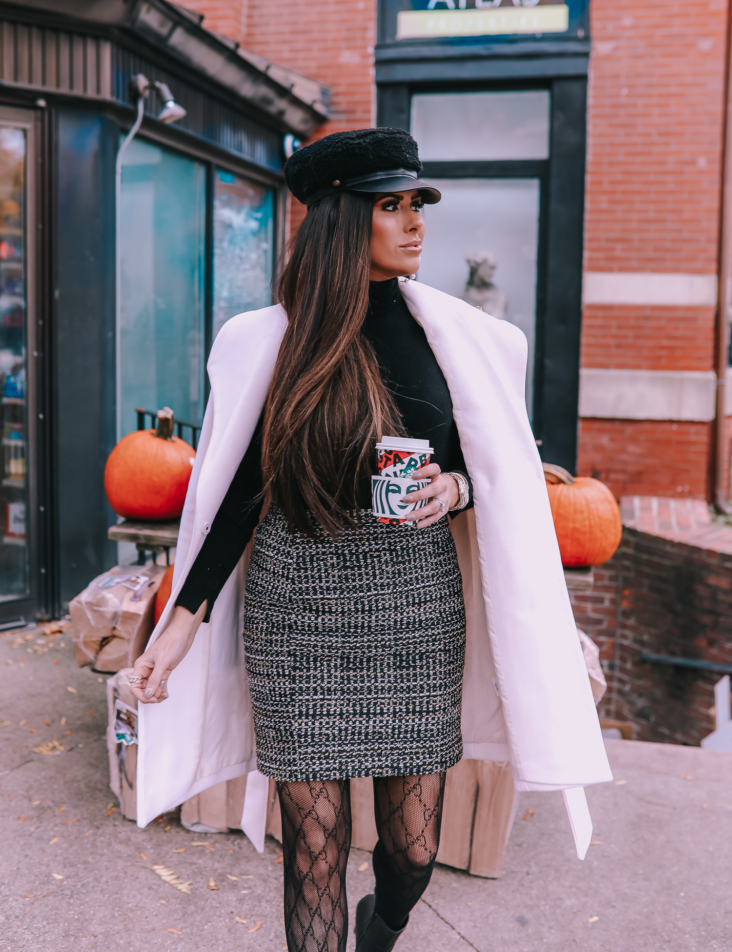 Most Popular Outfits On Sale That I've Worn - All 50% Off! by popular Oklahoma fashion blog, The Sweetest Thing: image of a woman wearing a white wrap coat and tweed skirt.