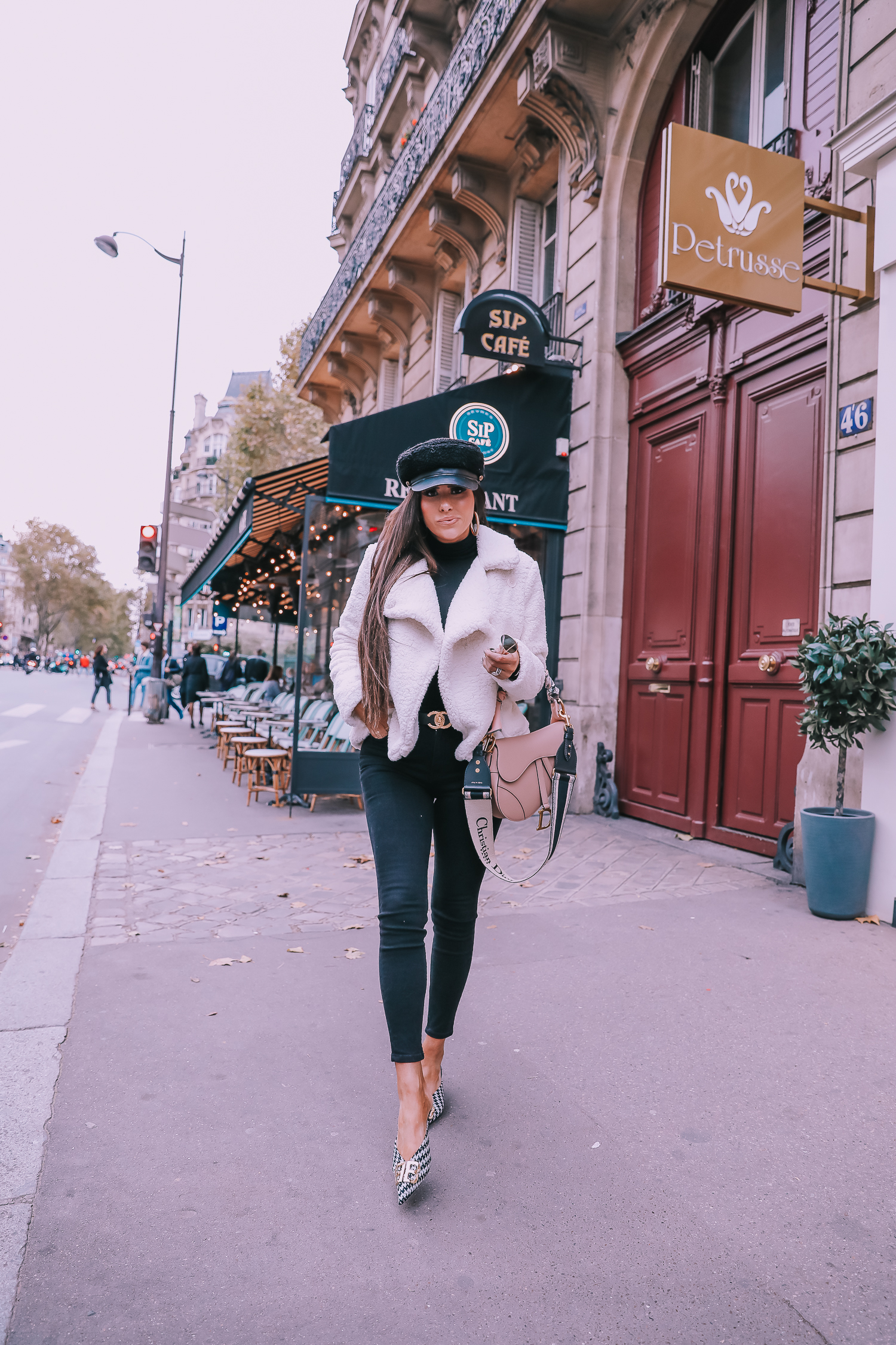 Ivory Peacoat styled by top US fashion blog, The Sweetest Thing: image of a woman wearing a BB Dakota ivory peacoat in Paris. | fall outfit ideas pinterest 2019, paris fall outfit ideas, dior saddle bag nude with straps, dior saddle bag blush saddle bag, emily ann gemma-2