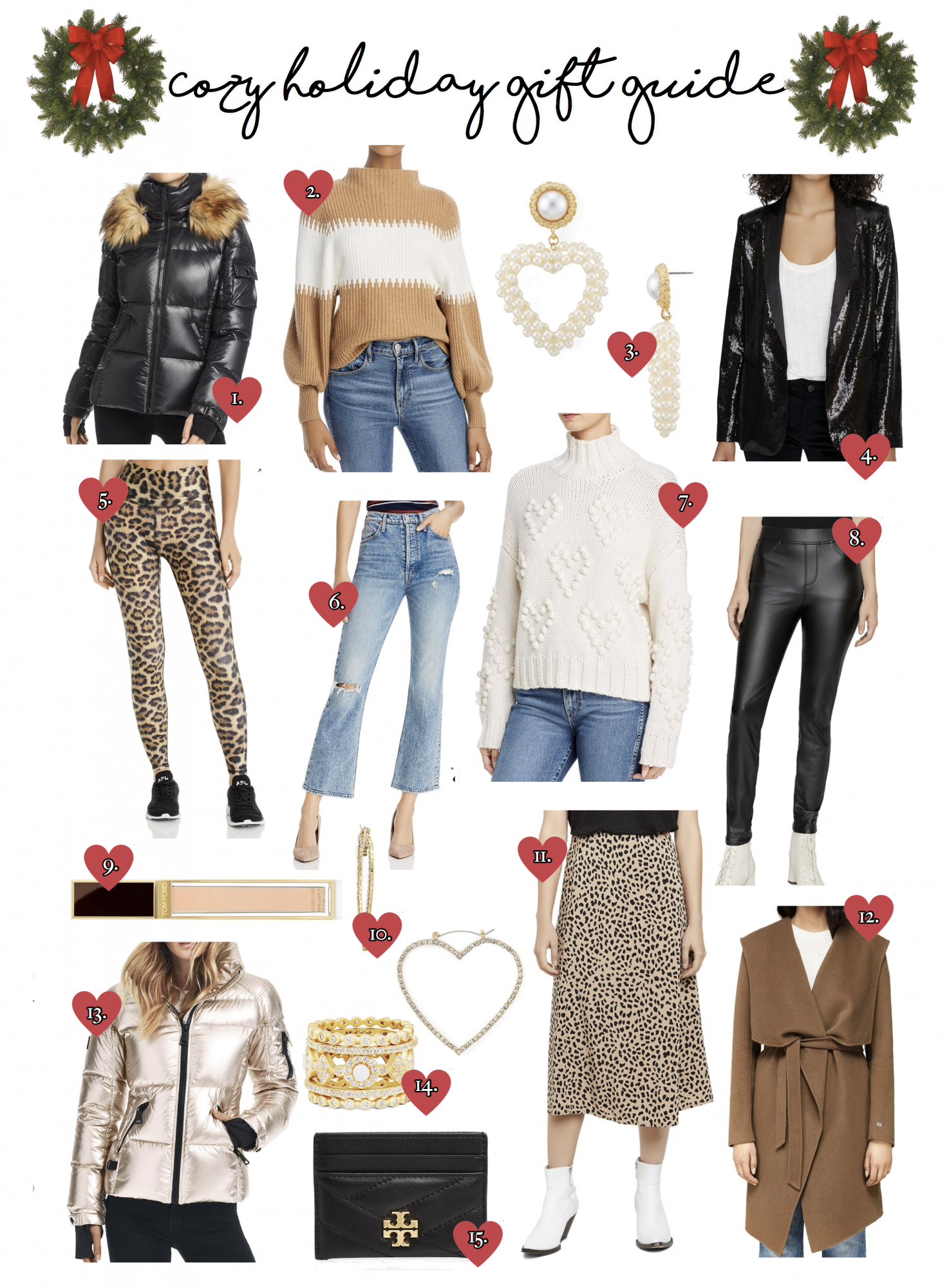 Bloomingdales sweaters holiday gift guide | Cozy Gift Ideas by popular Oklahoma life and style blog, The Sweetest Thing: collage image of MATTE BLACK PUFFER JACKET W/FAUX FUR HOOD TRIM, TAN & WHITE STRIPED MOCK NECK SWEATER, PEARL HEART SHAPED EARRINGS, BLACK SEQUIN BLAZER, LEOPARD PRINT YOGA PANTS, HIGH WAISTED STRAIGHT LEG DENIM, HEART POM TURTLENECK SWEATER, FAUX LEATHER LEGGINGS, TOM FORD LUXE LIP GLOSS, DIAMOND HEART EARRINGS, LEOPARD PRINT MIDI SKIRT, WOOL BLEND DRAPED WRAP COAT, ROSE GOLD PUFFER JACKET, GOLD STACKED RINGS, TORY BURCH CARD CASE, JOIE SWEATER, KATE SPADE PINK TEDDY BEAR JACKET, FRENCH CONNECTION SEQUIN DRESS, and LINE & DOT FRINGE SWEATER.