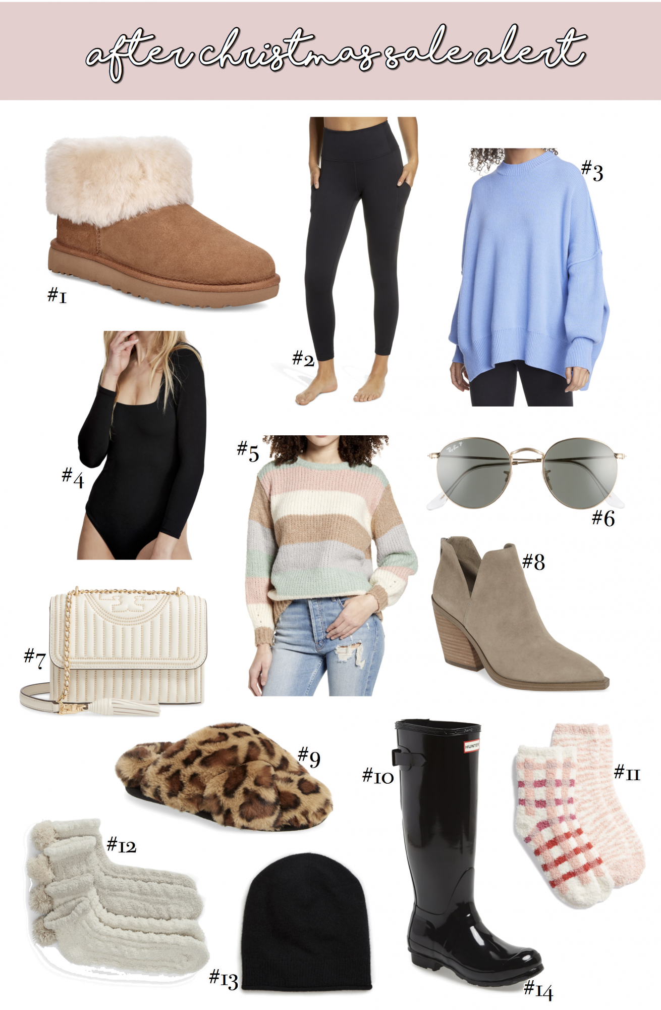 Best After Christmas Sales / Deals [40% Off!] by popular Oklahoma life and style blog, The Sweetest Thing: collage image of Ugg boots, Zella leggings, oversized Free People sweater, Hunter rain boots, Ray-Ban sunglasses, Free People bodysuit, Tory Burch crossbody bag, cahmere beanie, fuzzy leopard print slippers, stripe sweater, taupe suede ankle boots, and fuzzy pom socks.