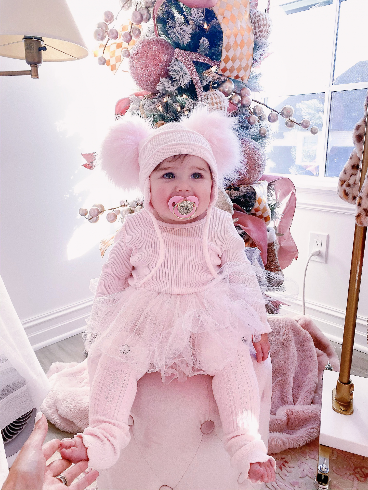 baby girl fashion blogger pinterest, baby girl fashionista, sophia gemma | A YEAR IN REVIEW : MASSIVE 2019 INSTAGRAM RECAP by popular Oklahoma life and style blog, The Sweetest Thing: image of a baby with a Sugar Plum Avenue Dior pacifier and wearing a Nordstrom Tutu Bodysuit Dress SEED HERITAGE and H&M Leg Warmers.
