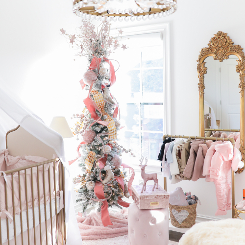 baby girl nursery inspiration christmas pinterest, baby girl nursery christmas tree, emily gemma, gold baby garment rack, the sweetest thing blog-2