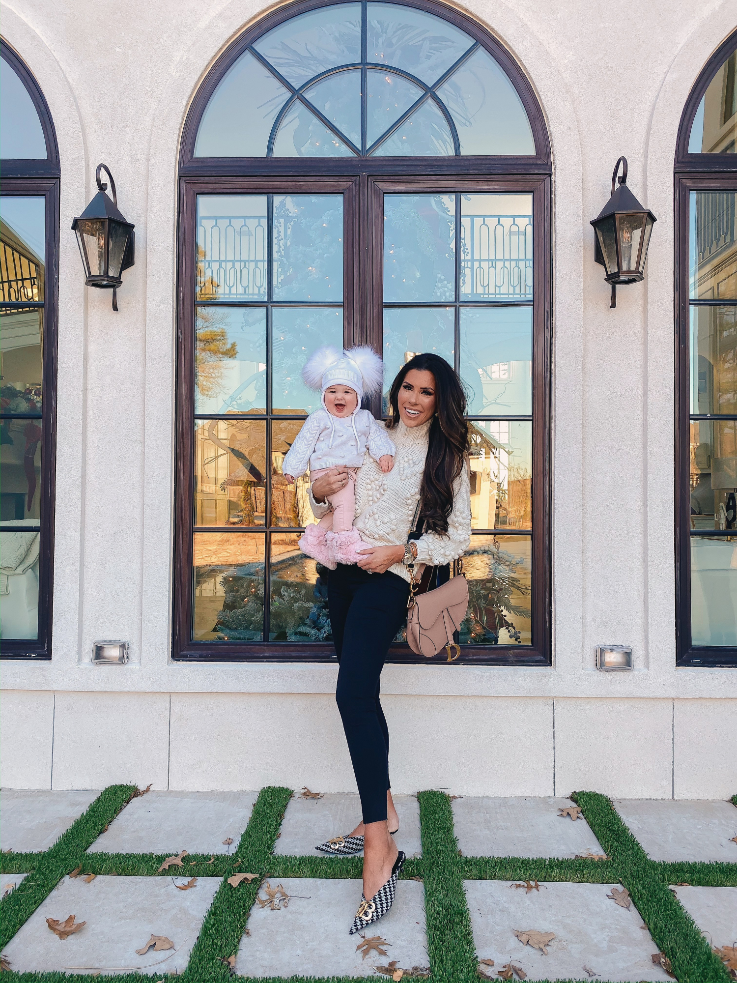 A YEAR IN REVIEW : MASSIVE 2019 INSTAGRAM RECAP by popular Oklahoma life and style blog, The Sweetest Thing: image of a mom holding her baby outside and wearing a Bloomingdale's AQUA Heart Popcorn-Knit Sweater.