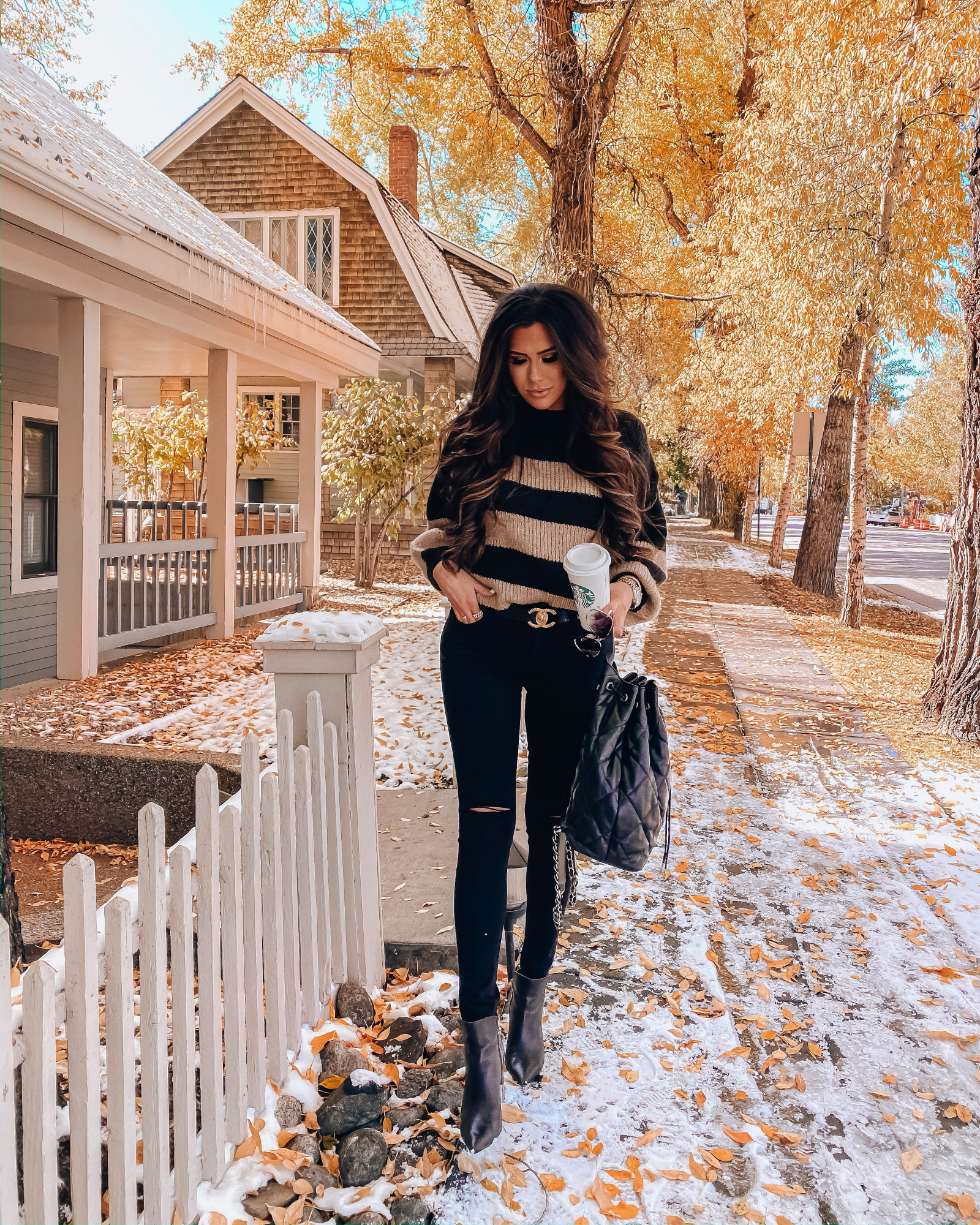 fall fashion pinterest 2019, emily gemma, aspen fall 2019 | A YEAR IN REVIEW : MASSIVE 2019 INSTAGRAM RECAP by popular Oklahoma life and style blog, The Sweetest Thing: image of a woman walking outside and wearing a Nordstrom Linetta Balloon Sleeve Sweater ONLY, Nordstrom Madewell jeans, Nordstrom Mella Bootie MARC FISHER LTD, Nordstrom Large Chunky Hoop Earrings ARGENTO VIVO, Nordstrom High Key Mini 59mm Rimless Aviator Sunglasses QUAY AUSTRALIA, Nordstrom Lip Cheat Lip Liner CHARLOTTE TILBURY, Nordstrom Hot Lips Lipstick CHARLOTTE TILBURY, and Nordstrom Gloss Luxe Moisturizing Lipgloss TOM FORD.