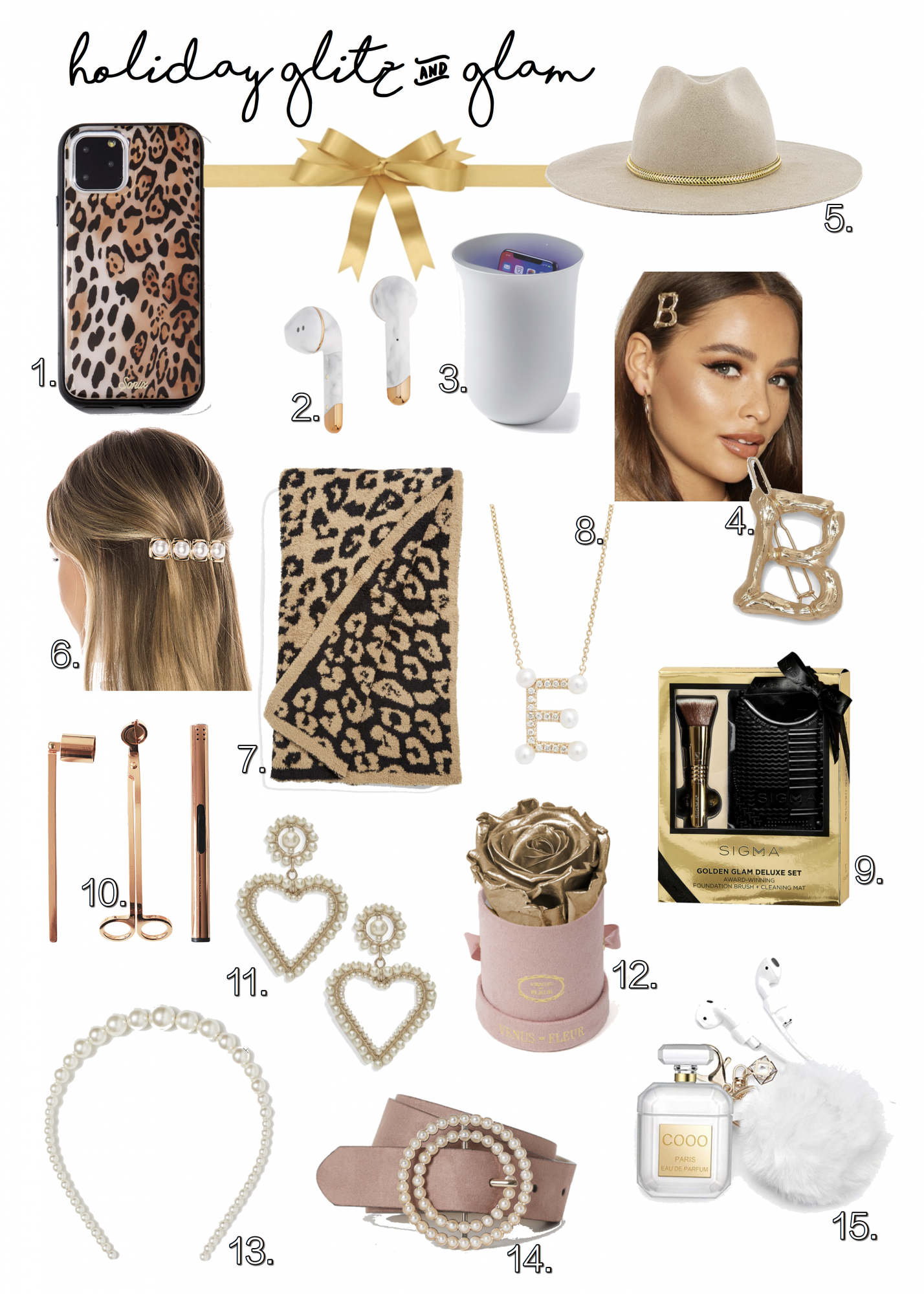 holiday gift guide 2019 emily gemma the sweetest thing blog | Glitz and Glam Gifts [👀Cute Things I've Got My Eyes On...] by popular Oklahoma life and style blog, The Sweetest Thing: collage image of LEOPARD PRINT IPHONE 11 PHONE PRO CASE, MARBLE EAR PODS, PHONE SANITIZER, BAMBOO INITIAL HAIR CLIP, HAT WITH GOLD CHAIN, PEARL HAIR CLIP, LEOPARD BLANKET, PEARL INITIAL NECKLACE, SIGMA BEAUTY GLAM GIFT SET, CANDLE ACCESSORY SET, PEARL HEART EARRINGS, VENUS ET FLEUR MINI ROSE BOX, PEARL HEADBAND, PEARL BUCKLE BELT and AIRPOD CASE WITH KEYCHAIN