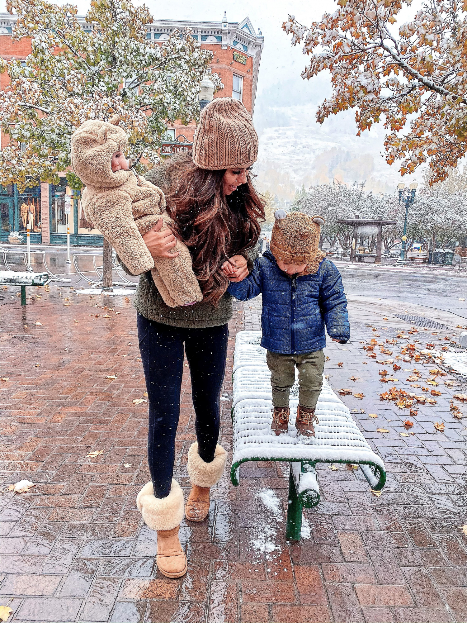 A YEAR IN REVIEW : MASSIVE 2019 INSTAGRAM RECAP by popular Oklahoma life and style blog, The Sweetest Thing: image of a mom walking outside with her son and wearing Nordstrom Bradley Waterproof Boot UGG®, Nordstrom Chimborazo Reversible Jacket THE NORTH FACE, and Nordstrom Bear Beanie THE NORTH FACE.