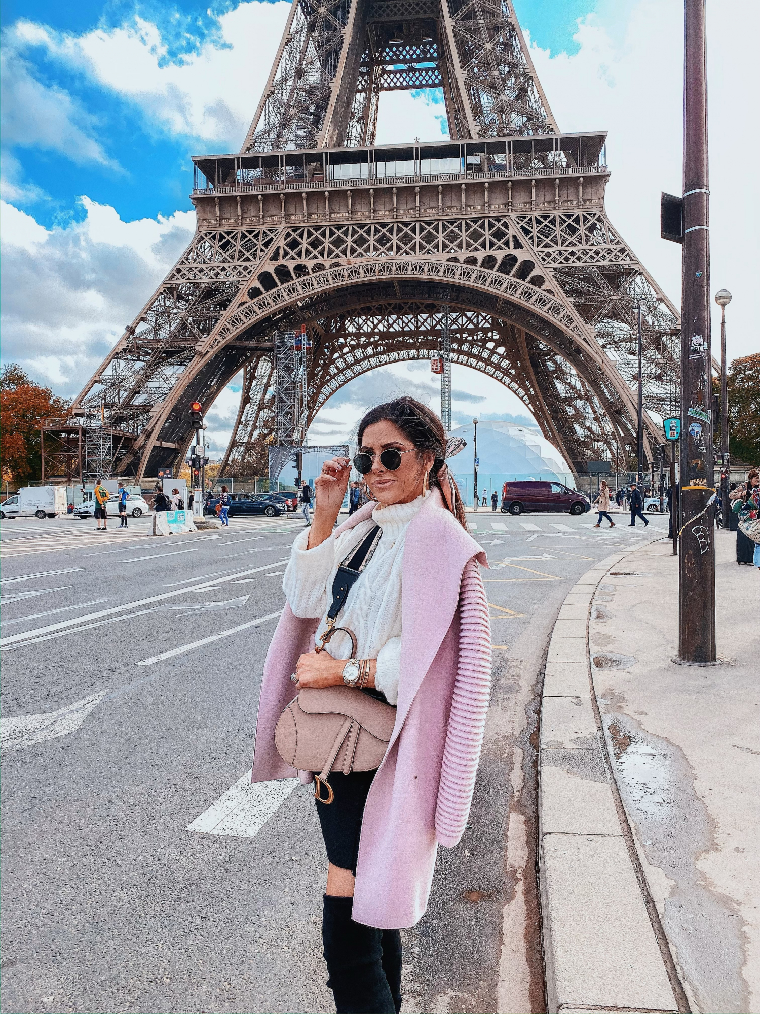 sentaler coat review, paris fashion street style fall 2019 pinterest, nude dior saddle bag with strap, emily gemma | A YEAR IN REVIEW : MASSIVE 2019 INSTAGRAM RECAP by popular Oklahoma life and style blog, The Sweetest Thing: image of a woman standing by the Eiffel Tower and wearing a pink Sentaler Long Wide Collar Wrap Coat.