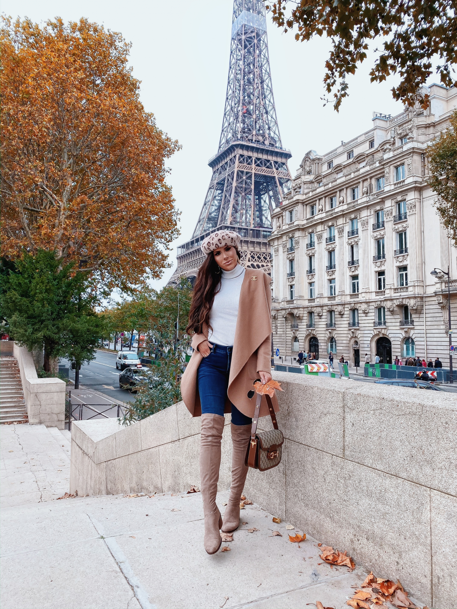 paris street style pinterest instagram fashion blogger, emily gemma | A YEAR IN REVIEW : MASSIVE 2019 INSTAGRAM RECAP by popular Oklahoma life and style blog, The Sweetest Thing: image of a woman standing by the Eiffel Tower and wearing a Revolve Samia Coatigan Soia & Kyo brand:Soia & Kyo, Express Ribbed Turtleneck Sweater, Express High Waisted Denim Perfect Lift Dark Wash Ankle Leggings, Zappos Steve Madden over the knee boots, Anthropologie leopard print beret, Gucci Gucci 1955 Horsebit shoulder bag, Nordstrom 50mm Retro Inspired Round Metal Sunglasses RAY-BAN, Nordstrom Lip Cheat Lip Liner CHARLOTTE TILBURY, Nordstrom Hot Lips Lipstick CHARLOTTE TILBURY, and Nordstrom Gloss Luxe Moisturizing Lipgloss TOM FORD.