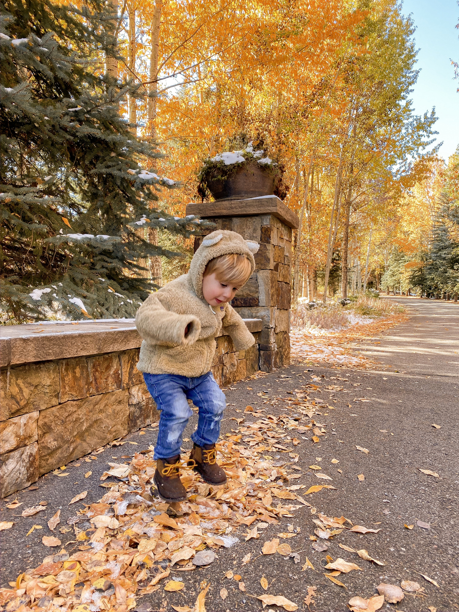 toddler boy fall fashion pinterest, luke gemma | A YEAR IN REVIEW : MASSIVE 2019 INSTAGRAM RECAP by popular Oklahoma life and style blog, The Sweetest Thing: image of a little boy jumping in a pile of leaves and wearing Nordstrom Furry Friends Fleece Hoodie PATAGONIA, Nordstrom Jagger Slim Fit Straight Leg Jeans HUDSON JEANS, and Nordstrom Bradley Waterproof Boot.