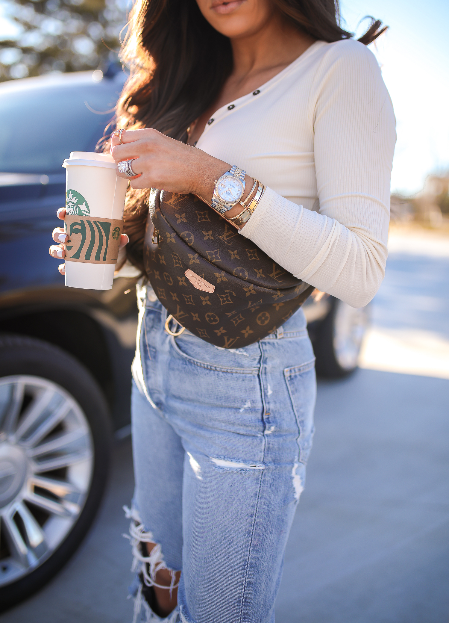 AGOLDE 90s fit high rise jeans review, Louis Vuitton bum bum fanny pack bag, louis vuitton bum bum fanny review pinterest outfit idea, emily gemma, popular fashion bloggers US instagrammers-6 | Agolde Jeans and My Main #OOTD by popular Oklahoma fashion blog, The Sweetest Thing: image of a woman wearing Oliver Top Privacy Please brand: Privacy Please, 90s High Rise Loose Fit AGOLDE brand: AGOLDE, GOLDEN GOOSE Superstar Low-Top Sneakers, Nordstrom 55mm Cat Eye Sunglasses GUCCI, Louis Vuitton Bum Bum fanny pack, Nordstrom Lip Cheat Lip Liner CHARLOTTE TILBURY, Nordstrom Hot Lips Lipstick CHARLOTTE TILBURY, and Nordstrom Gloss Luxe Moisturizing Lipgloss TOM FORD.