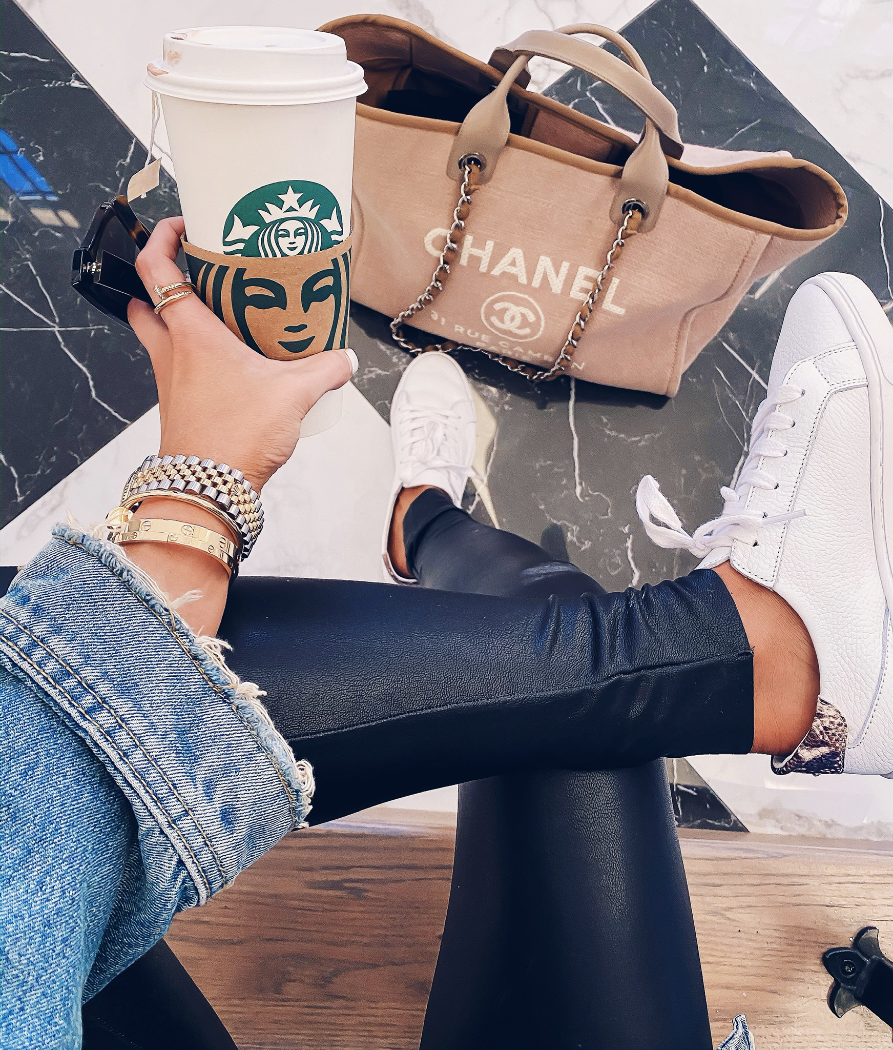 Instagram Recap by popular US fashion blog, The Sweetest Thing: image of a woman wearing a Rolex watch, Steve Madden GLOVE NATURAL SNAKE, Nordstrom Faux Leather Control Ankle Leggings COMMANDO, and Nordstrom 55mm Cat Eye Sunglasses GUCCI.