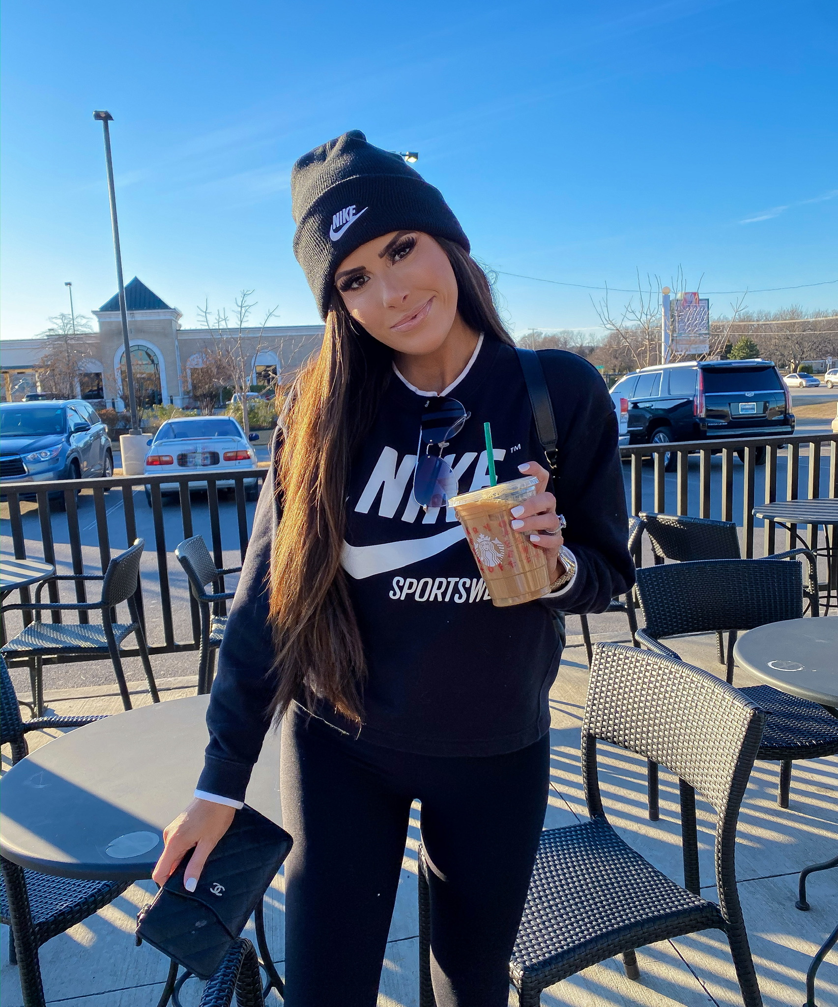 Instagram Recap by popular US fashion blog, The Sweetest Thing: image of a woman wearing a Nordstrom Control Top Leggings COMMANDO, Nordstrom Sportswear Essential Loose Fit Fleece Sweatshirt NIKE, Nordstrom High Key Mini 59mm Rimless Aviator Sunglasses QUAY AUSTRALIA.
