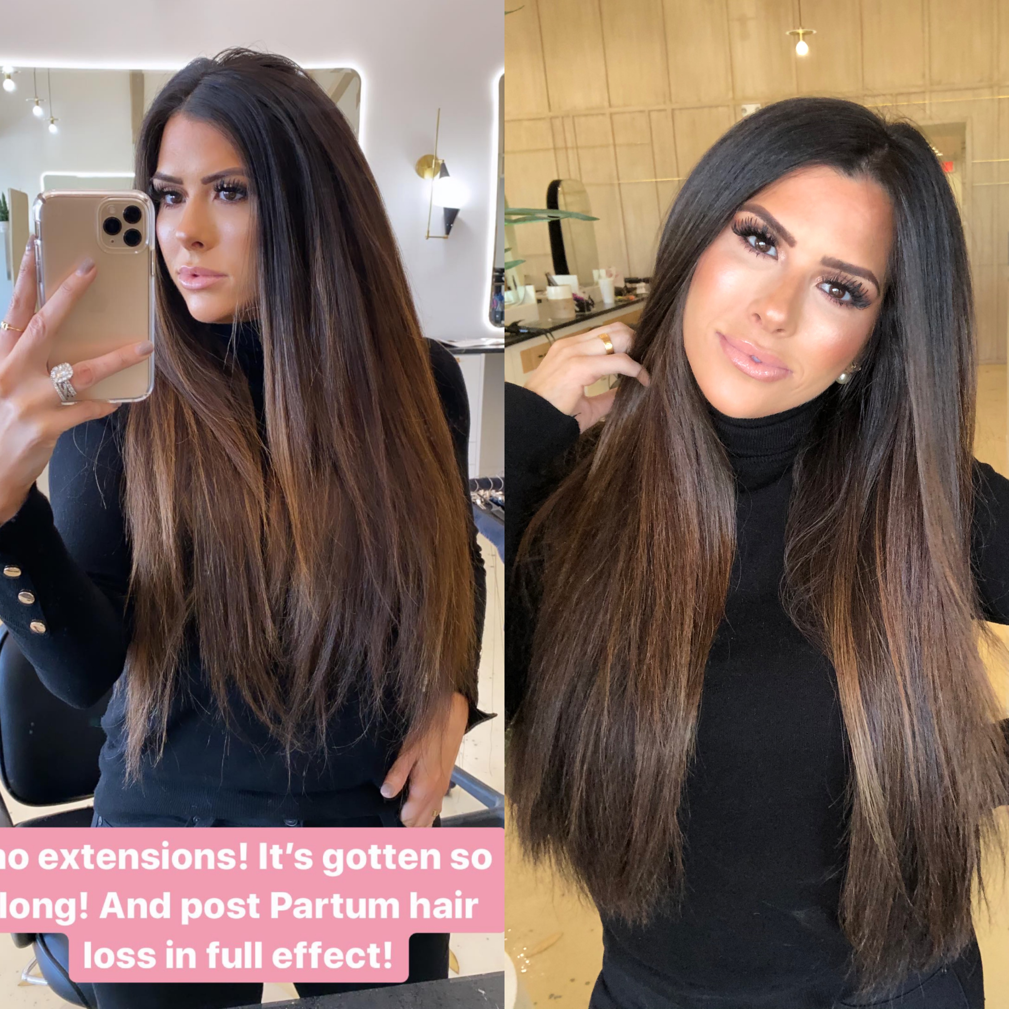 before and after hair extensions hair by chrissy ,emily gemma | BEST HAIR PRODUCTS FOR 2019💁🏻‍♀️ || PART 1 by popular US beauty blog, The Sweetest Thing: image of a woman with brunette hair extensions.