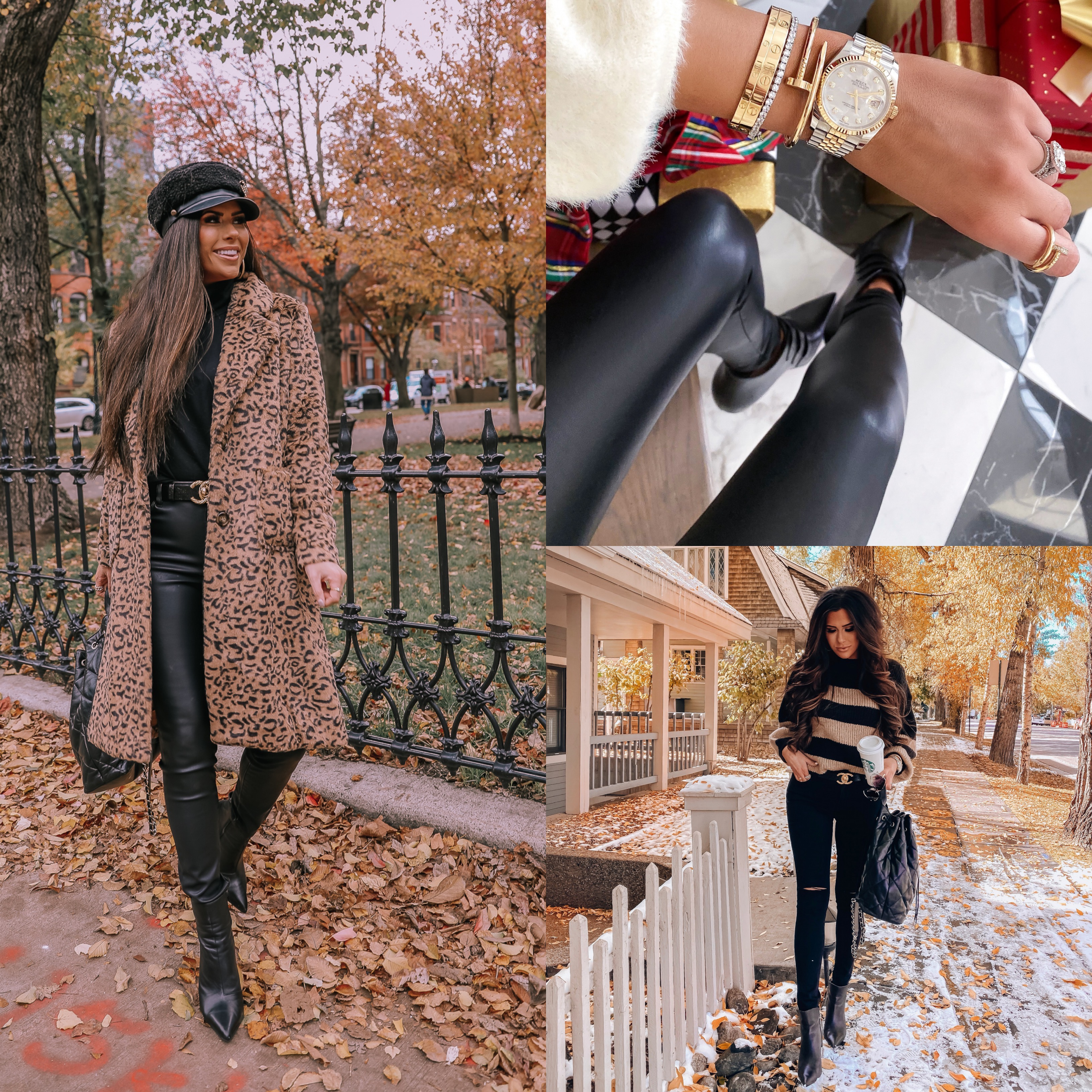 best of black faux leather pants 2019, best faux leather pants | best athletic leggings lululemon, zella, spanx review | Best Wardrobe Essentials 2019👖 | Part 2 by popular US fashion blog, The Sweetest Thing: collage image of a woman wearing Nordstrom Perfect Control Faux Leather Leggings COMMANDO and Nordstrom Faux Leather Button Front Pants BLANKNYC.