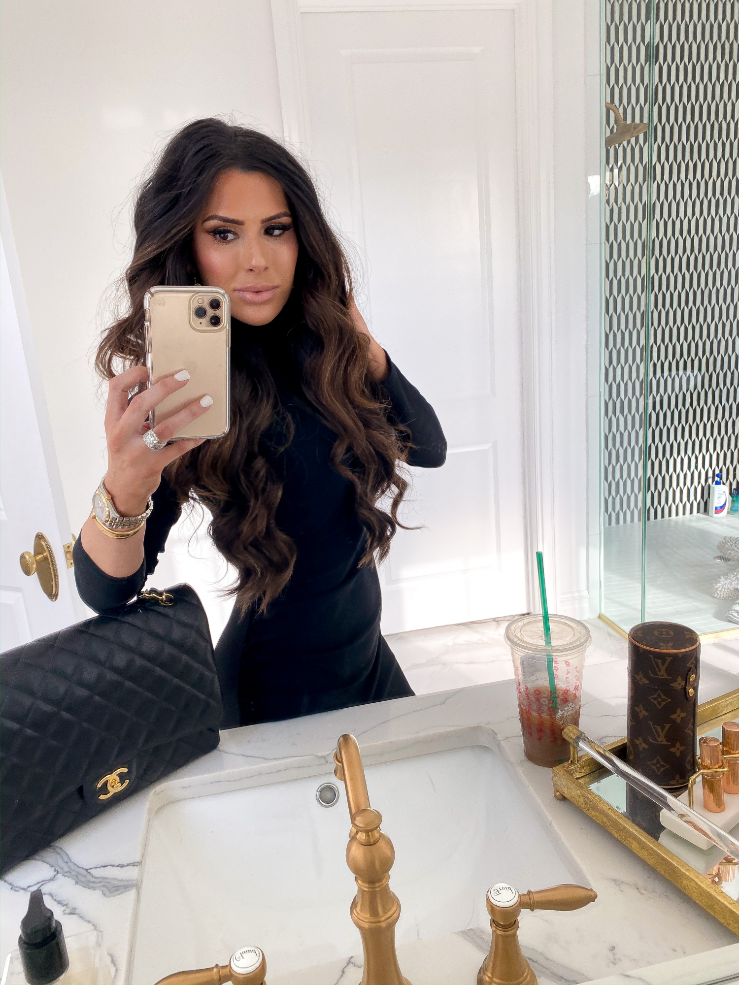 brunette balayage extensions, beauty bloggers hair extensions, hair by chrissy, emily gemma | BEST HAIR PRODUCTS FOR 2019💁🏻‍♀️ || PART 1 by popular US beauty blog, The Sweetest Thing: image of a woman with brunette hair extensions.